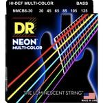 DR Strings DR Strings NEON Multi-Color Bass Strings, 6-String Set (30-125), NMCB6-30