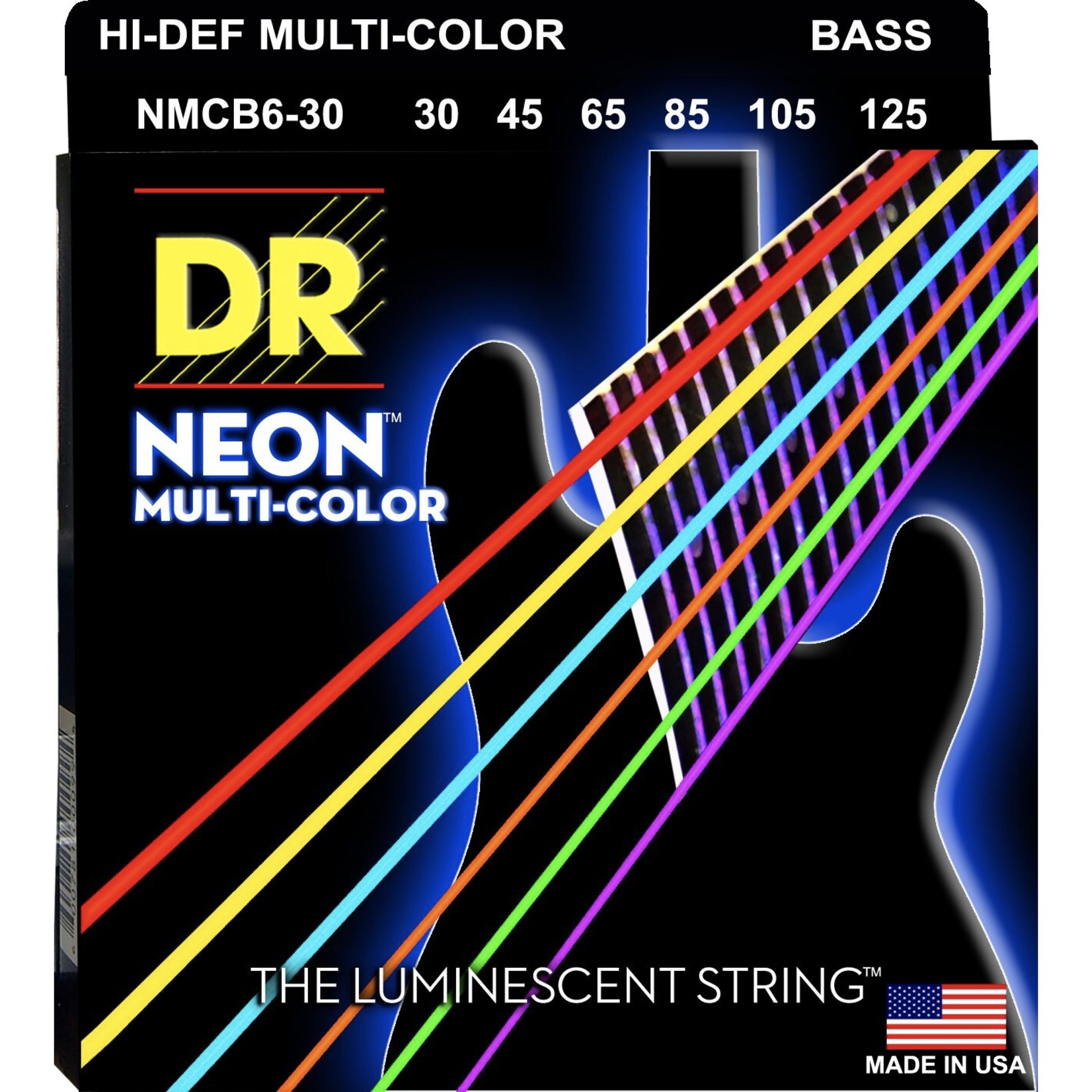 DR Strings DR Strings NEON Multi-Color Bass Strings, 6-String Set (30-125), NMCB6-30