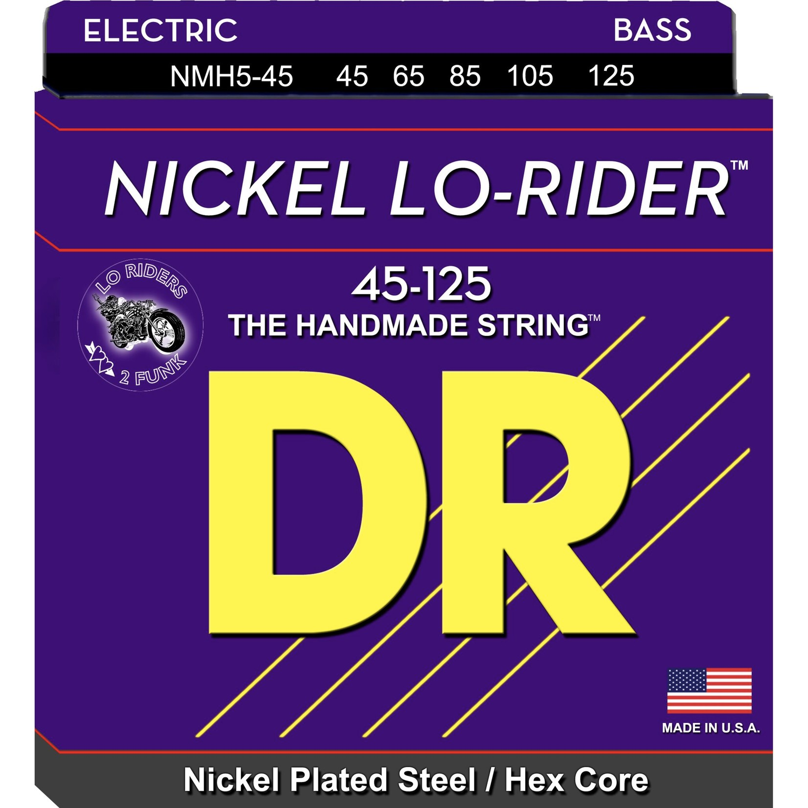 DR Strings DR Strings NICKEL LO-RIDERª - Nickel Plated Bass Strings: 5-String Medium 45-125, NMH5-45