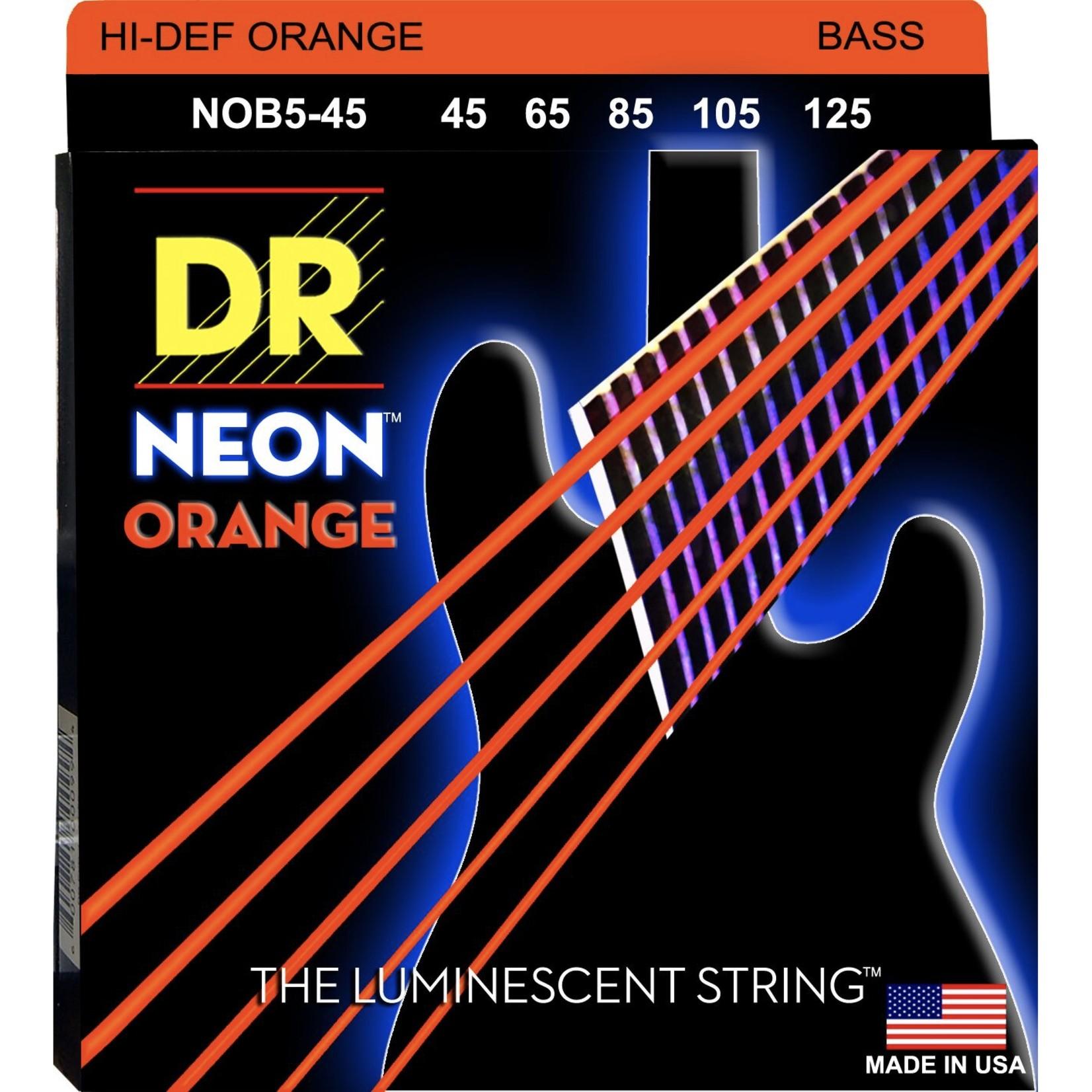 DR Strings DR Strings Hi-Def Neon Orange Neon Bass Strings 5-String Set (NOB5-45)