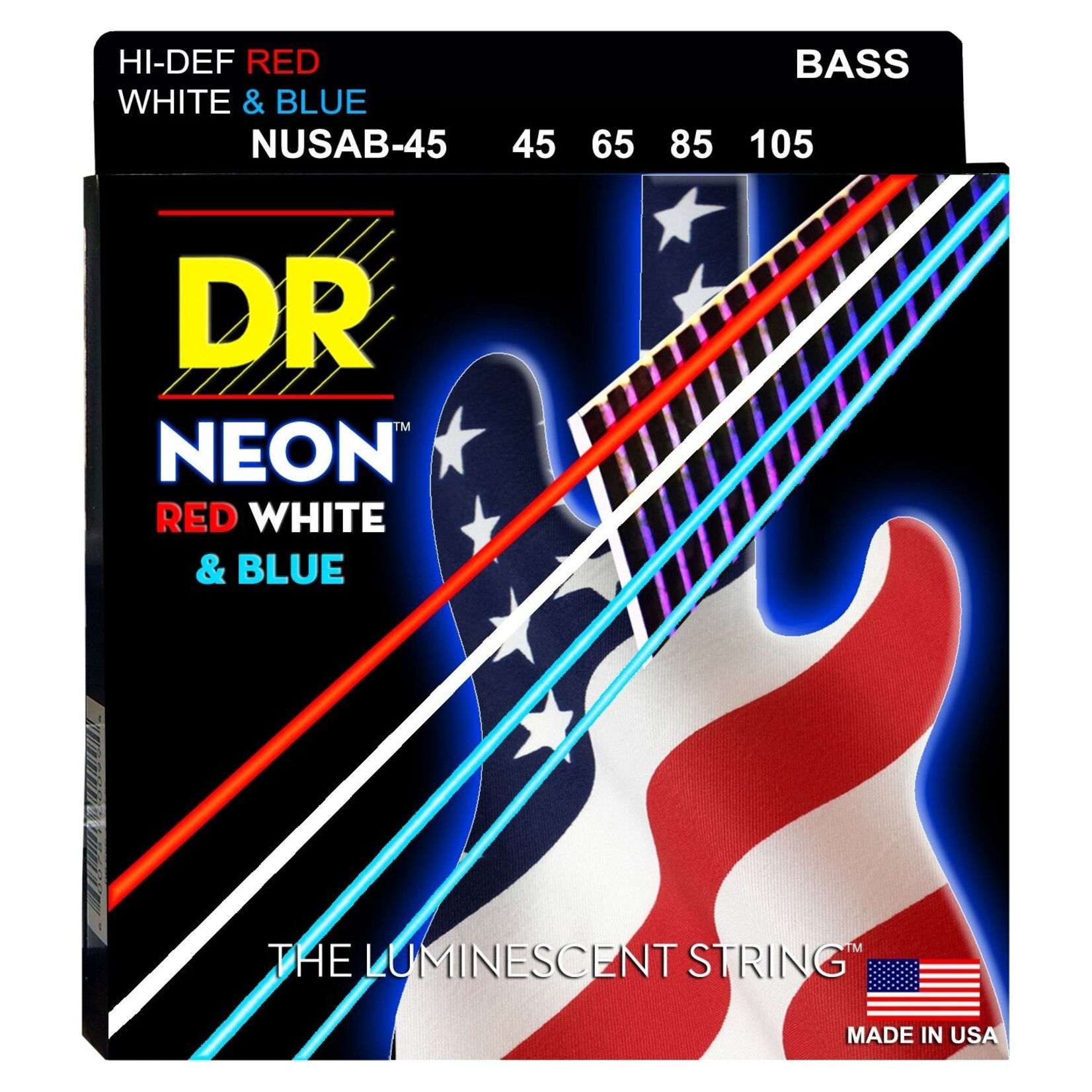 DR Strings DR NEON Red, White & Blue Coated Bass Strings (NUSAB-45) (45-105), USA Flag, Patriotic, America