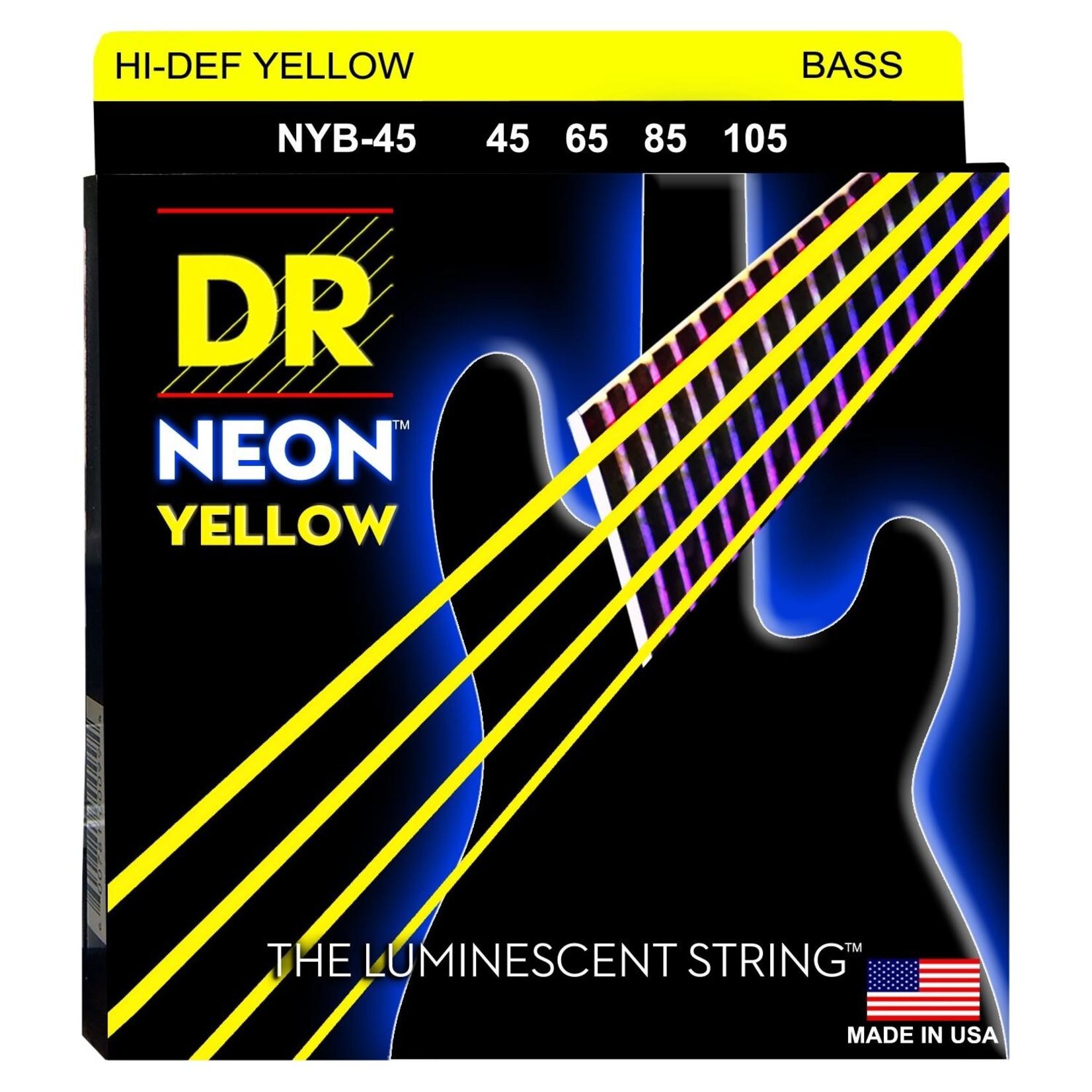 DR Strings DR Strings NYB-45 Neon Hi-Def Yellow Bass Strings, 45-105 Medium 4-String Set