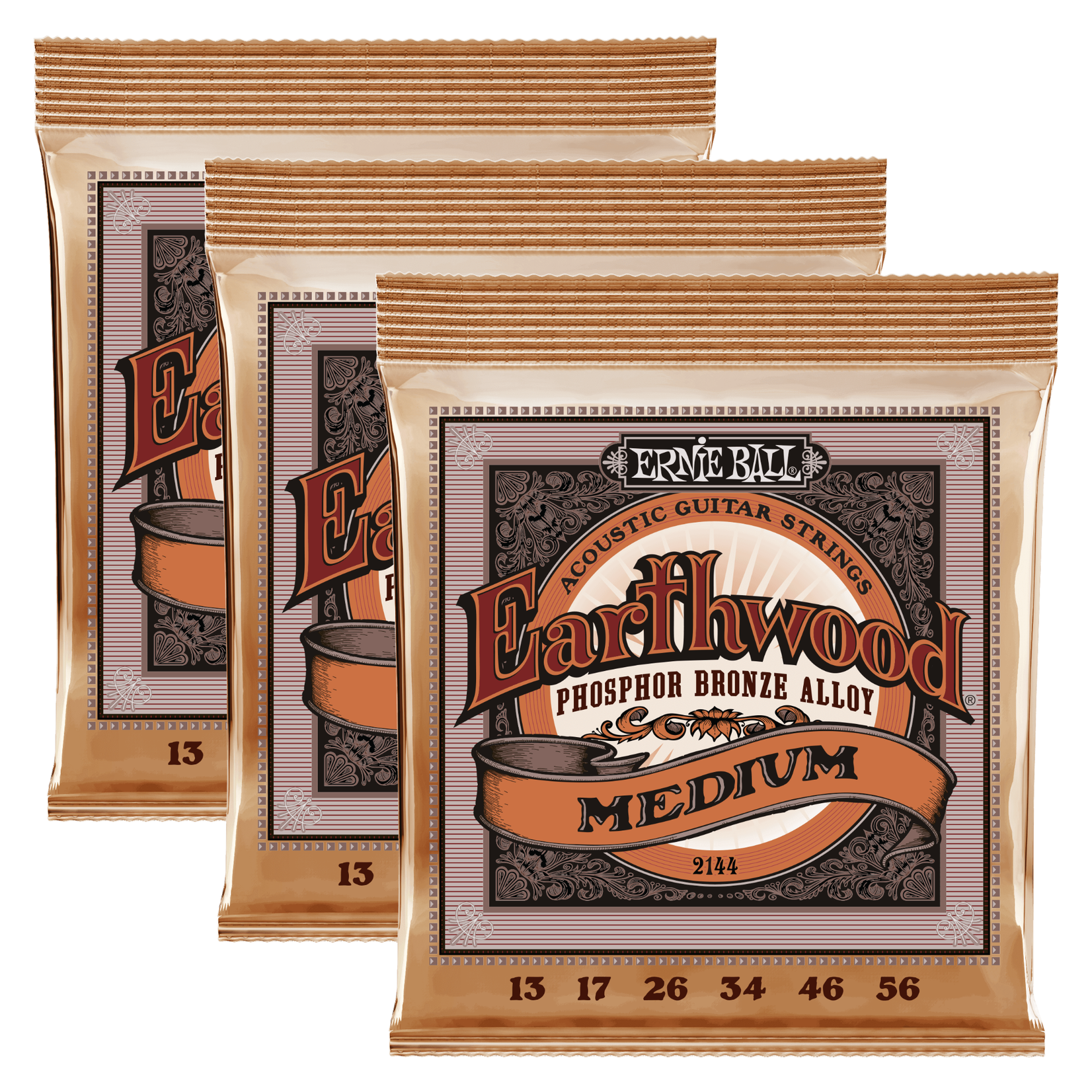 Ernie Ball 3x (3 Sets) Ernie Ball 2144 Earthwood Power Slinky Phosphor Bronze Acoustic Guitar Strings (13-56)