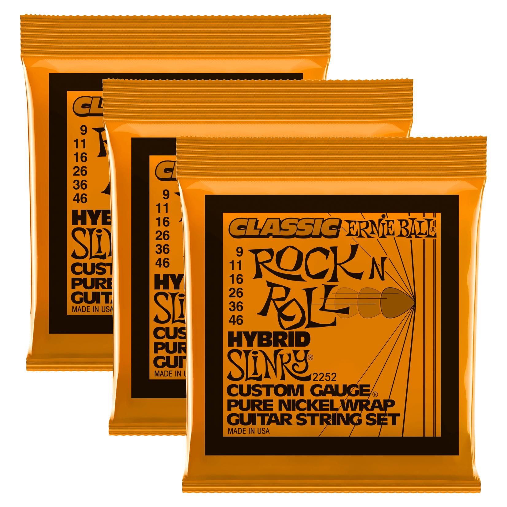 Ernie Ball 3x (3 sets) Ernie Ball Classic Rock Pure Nickel Wrap Hybrid Slinky Electric Guitar Strings, 9-46 (P02252)
