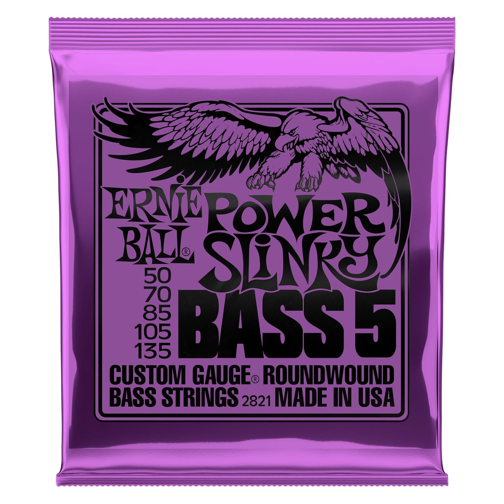 Ernie Ball Ernie Ball 2821 Power Slinky 5-String Nickel Wound Electric Bass Strings (50-135)