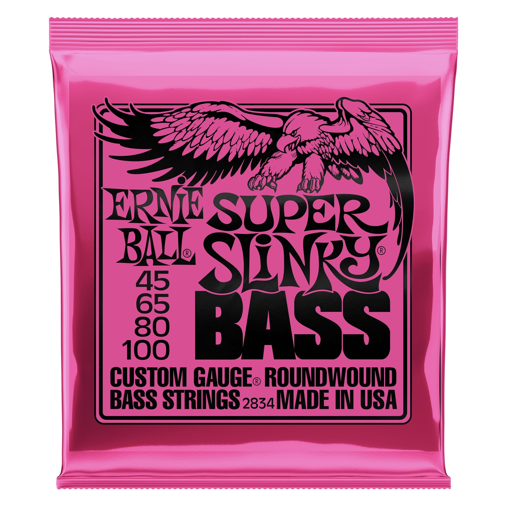 Ernie Ball Ernie Ball 2834 Super Slinky Bass - Custom Gauge Roundwound Electric Bass Strings (45-100), 4-String