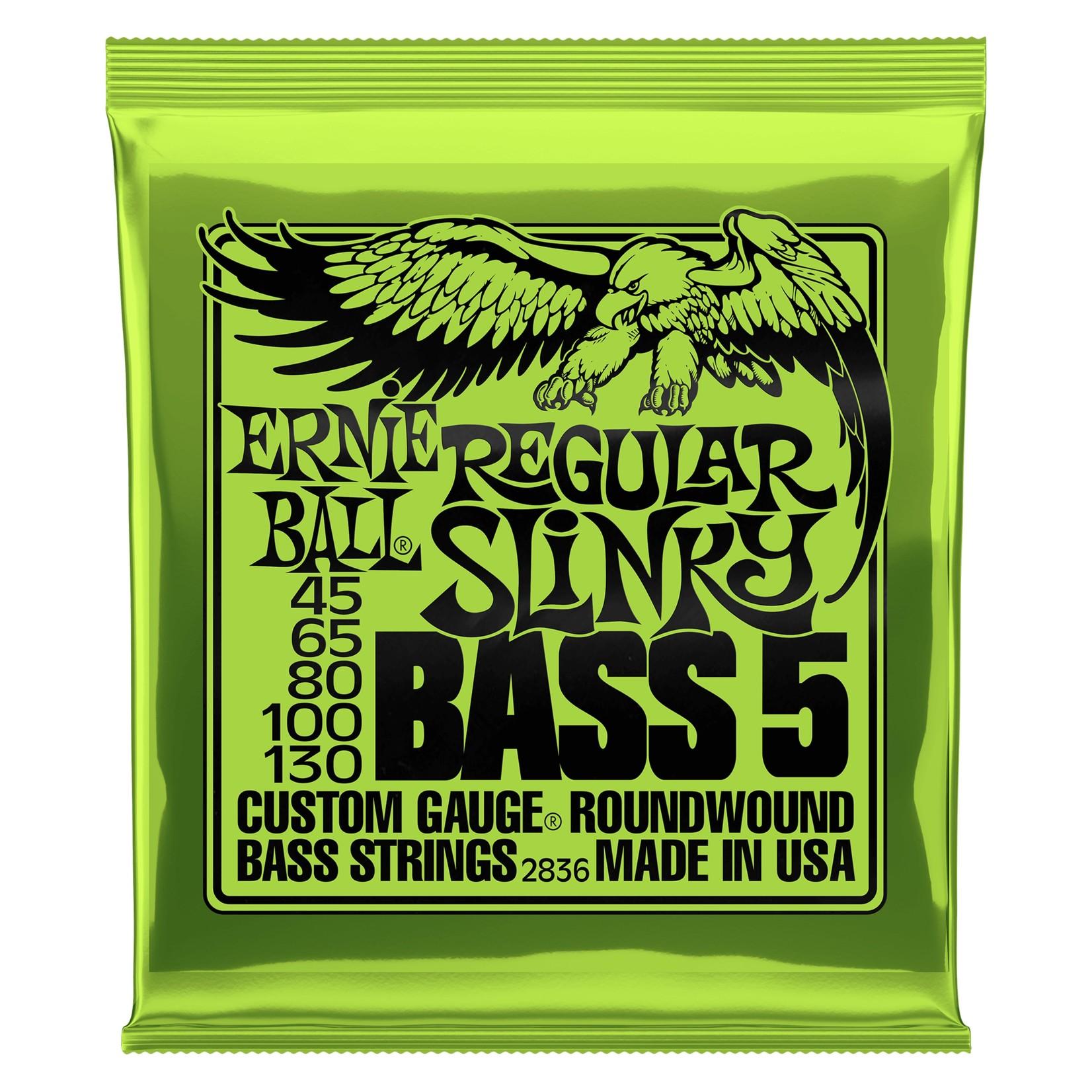 Ernie Ball Ernie Ball 2836 Regular Slinky 5-String Nickel Wound Electric Bass Strings (45-130)