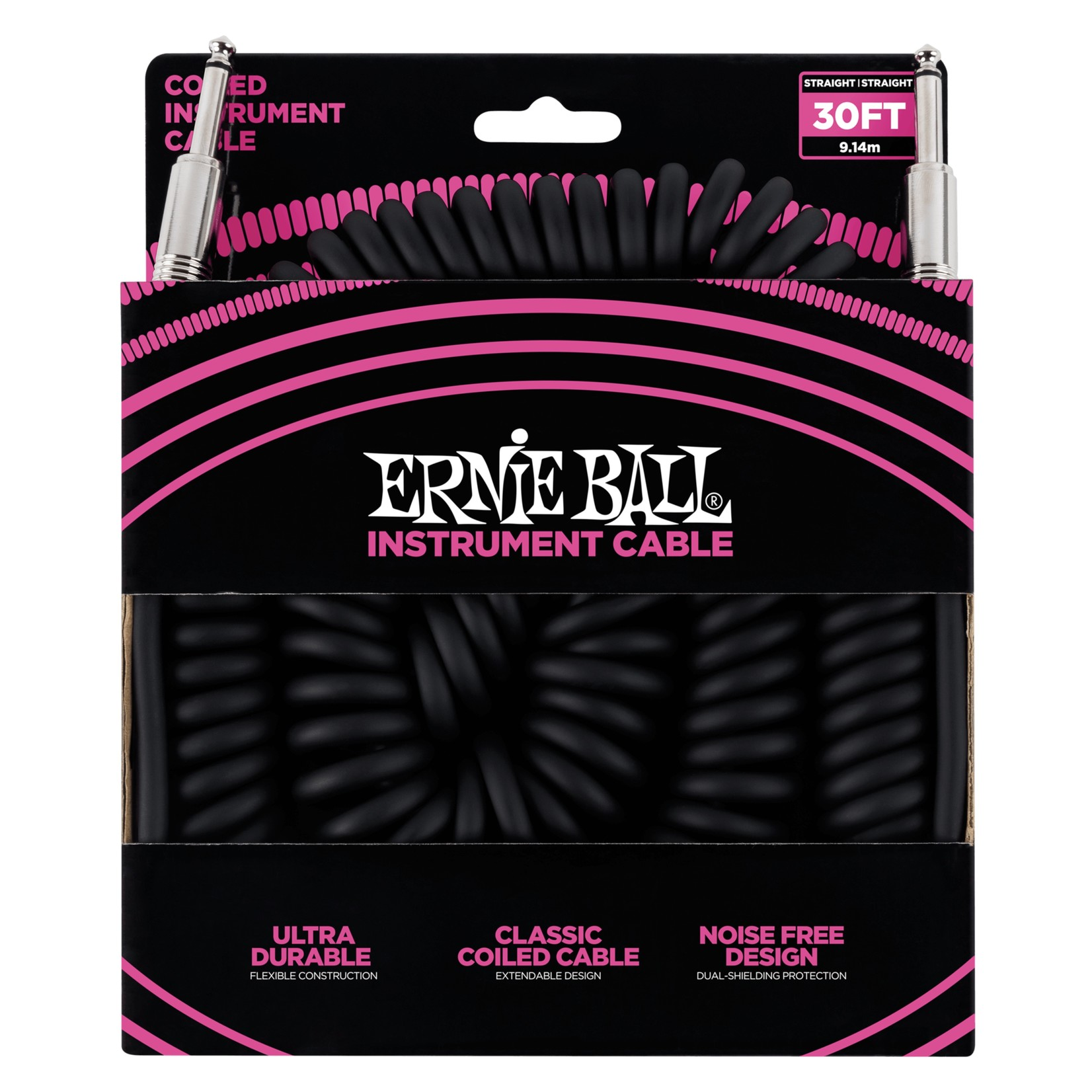 Ernie Ball Ernie Ball 30' Coiled Straight / Straight Instrument Cable, Black