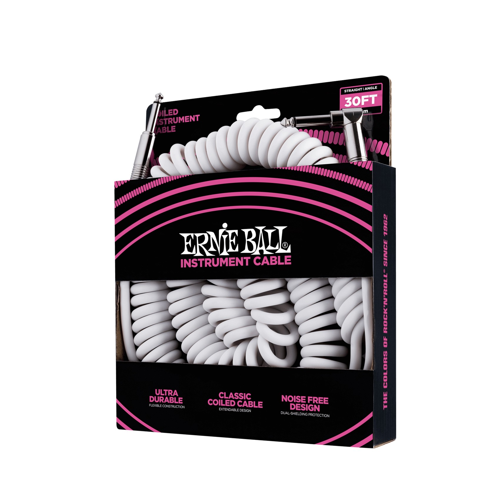 Ernie Ball Ernie Ball 30' Coiled Straight / Angle Instrument Cable, White