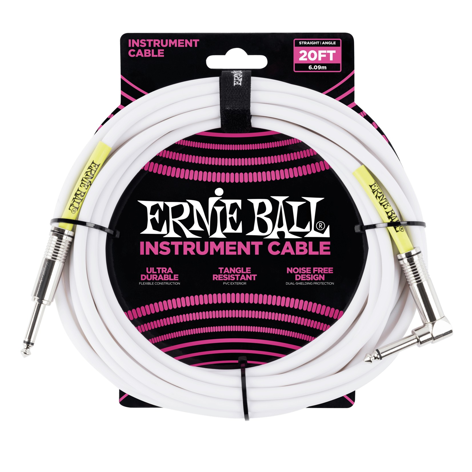 """Ernie Ball Ernie Ball 20' 1/4"""" Straight / Angle Instrument Cable - White (20-foot)"""
