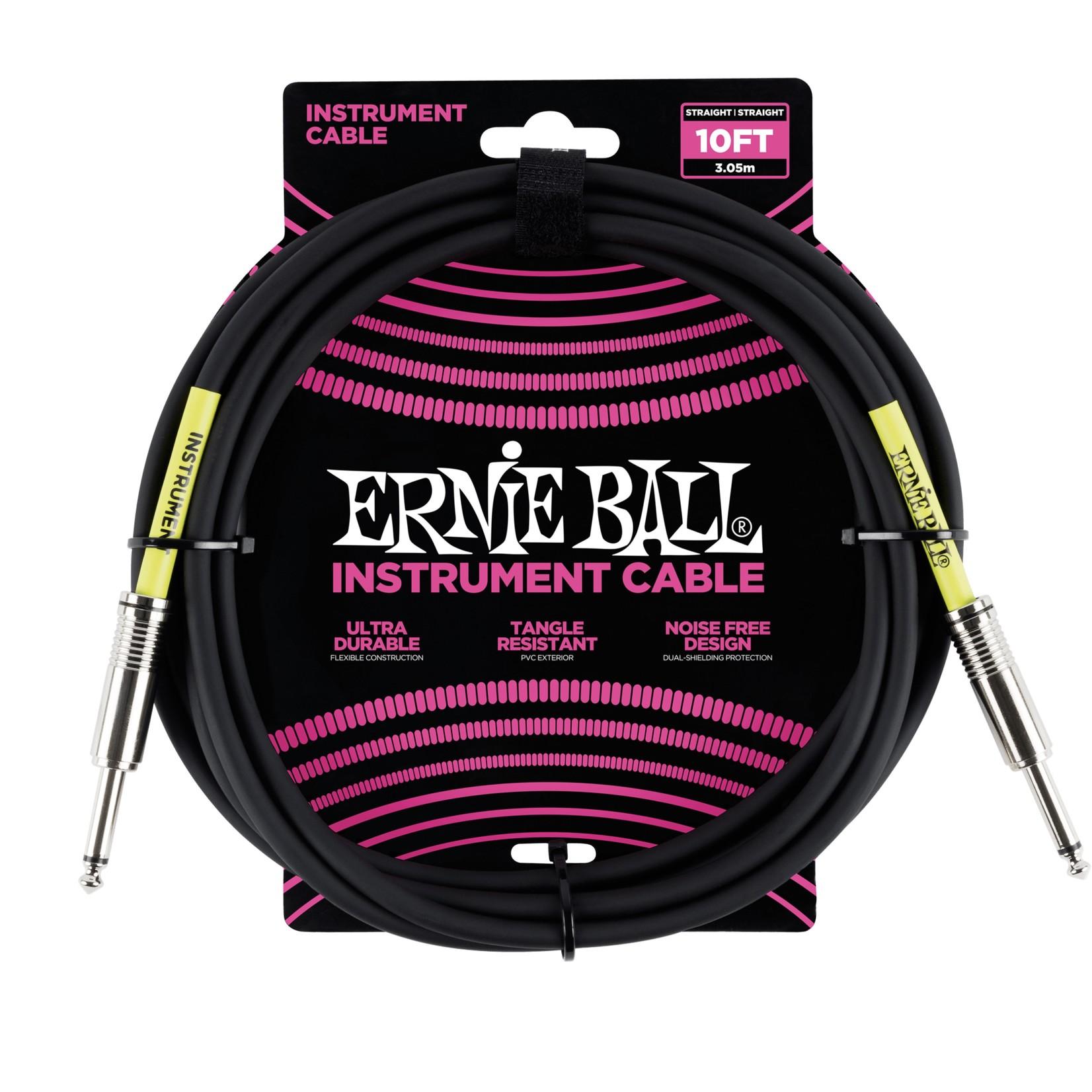 "Ernie Ball Ernie Ball 10' 1/4"" Straight / Straight Instrument Cable - Black (10-foot)"
