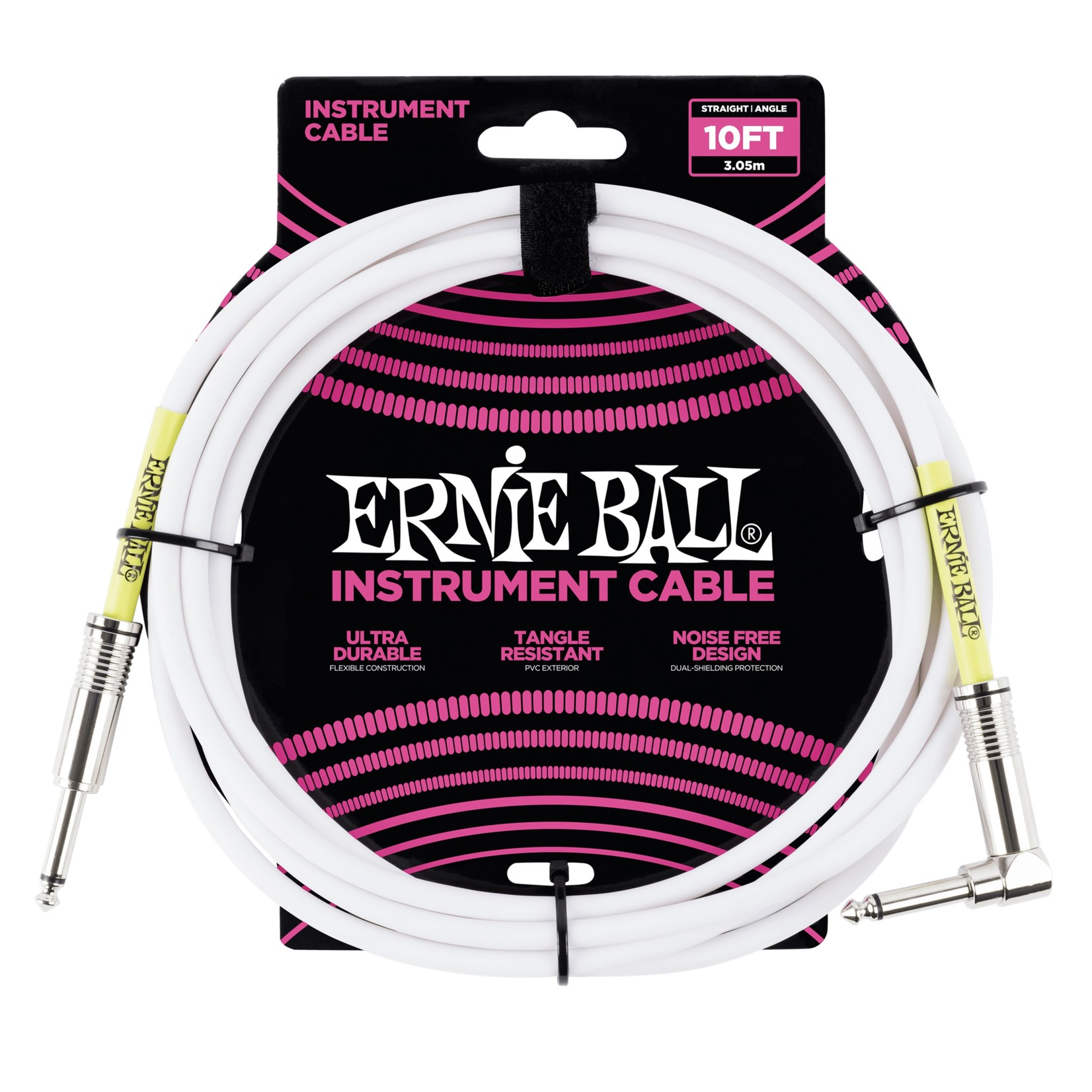 """Ernie Ball Ernie Ball 10' 1/4"""" Straight / Angle Instrument Cable - White (10-foot)"""