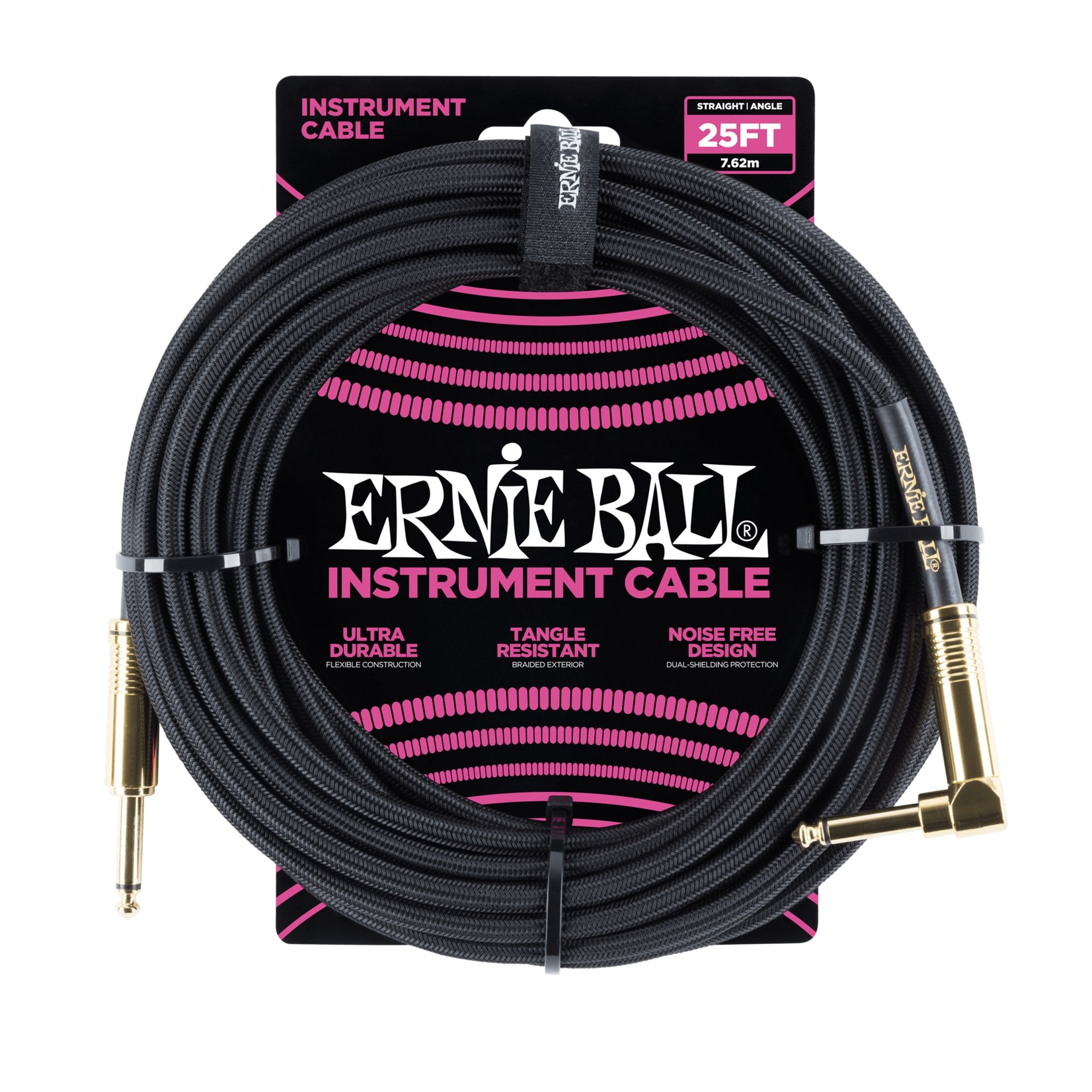 Ernie Ball Ernie Ball 25' Braided Straight / Angle Instrument Cable - Black