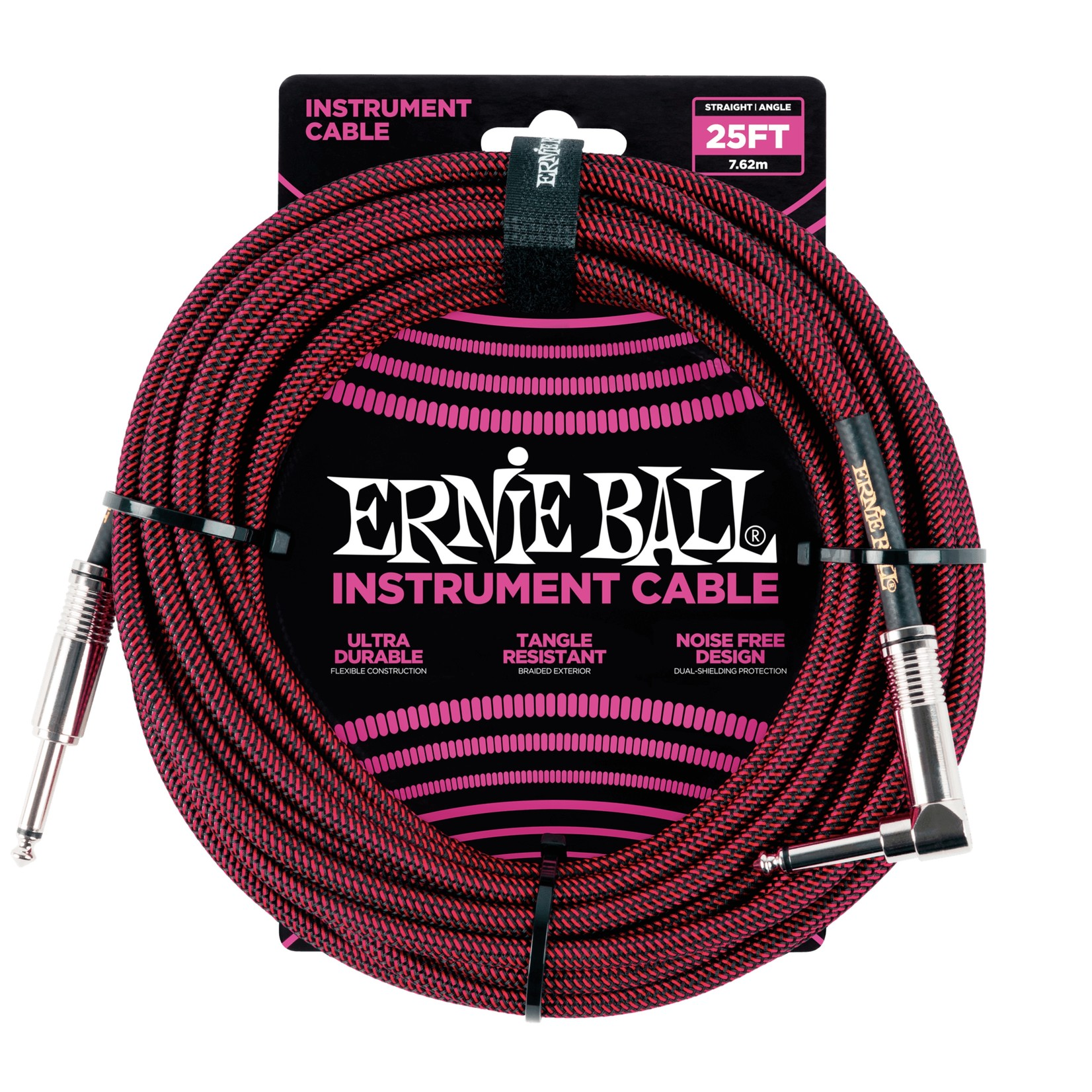 Ernie Ball Ernie Ball 25' Braided Straight / Angle Instrument Cable, Black / Red