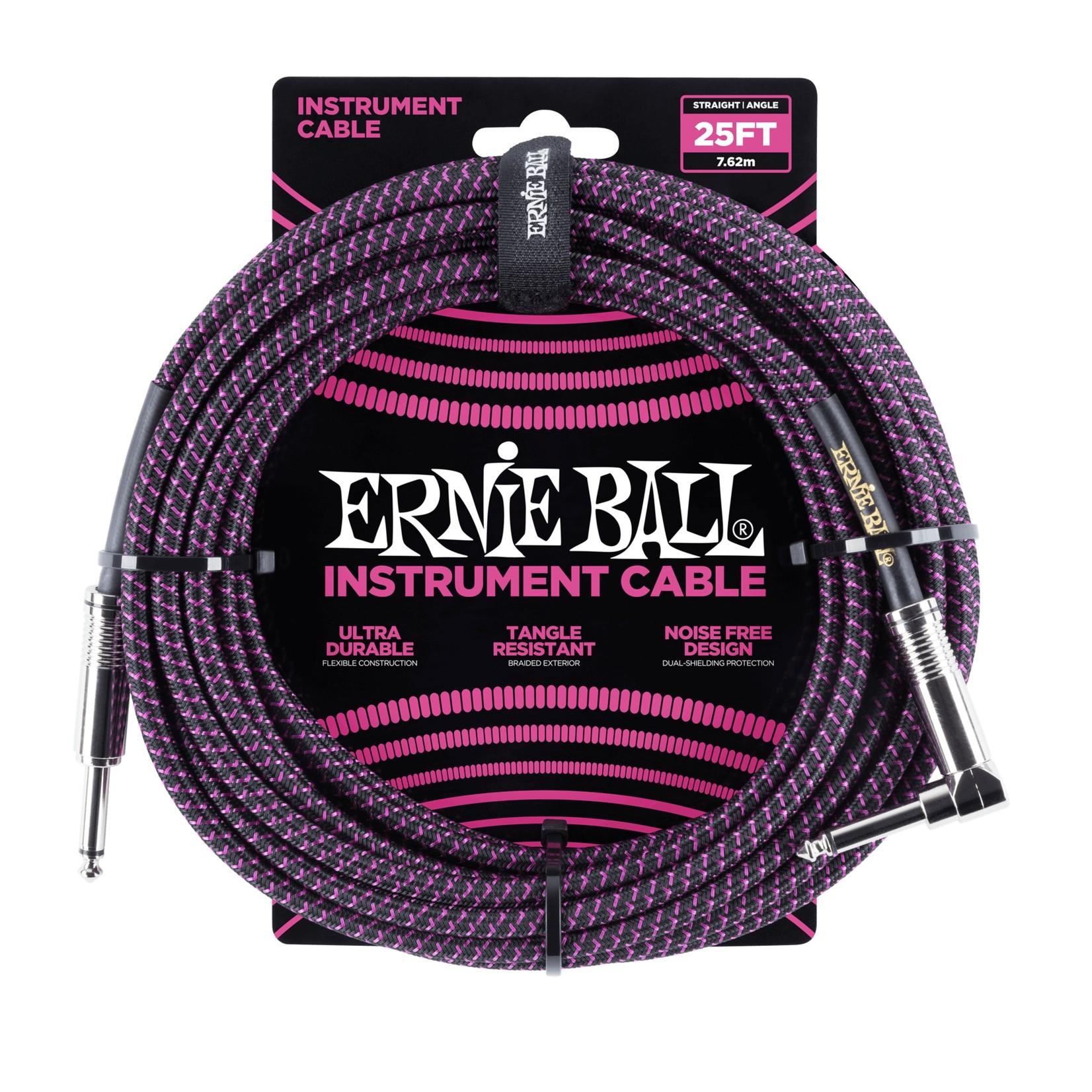 Ernie Ball Ernie Ball 25' Braided Straight / Angle Instrument Cable, Black/Purple