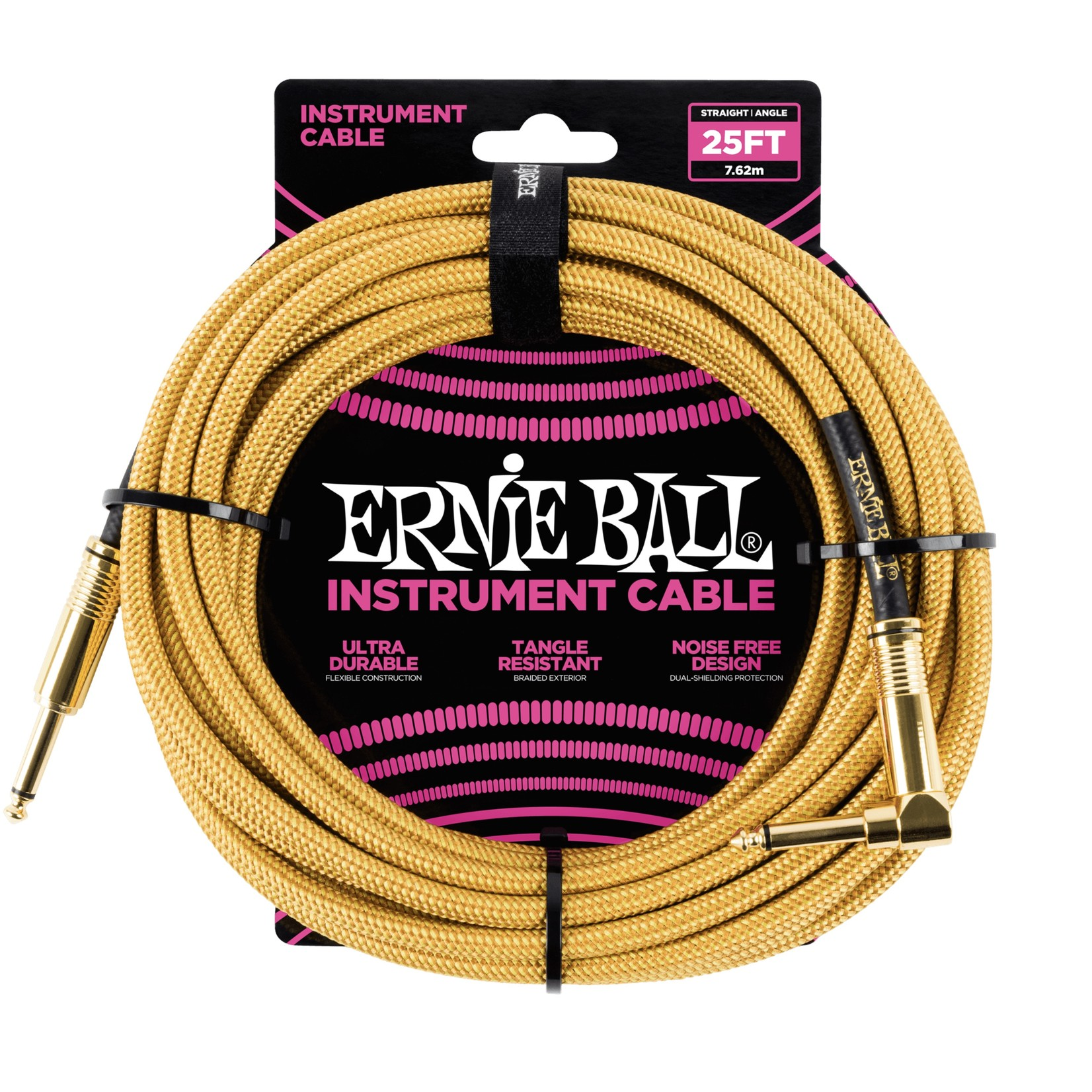 Ernie Ball Ernie Ball 25' Braided Straight / Angle Instrument Cable - Gold/Gold
