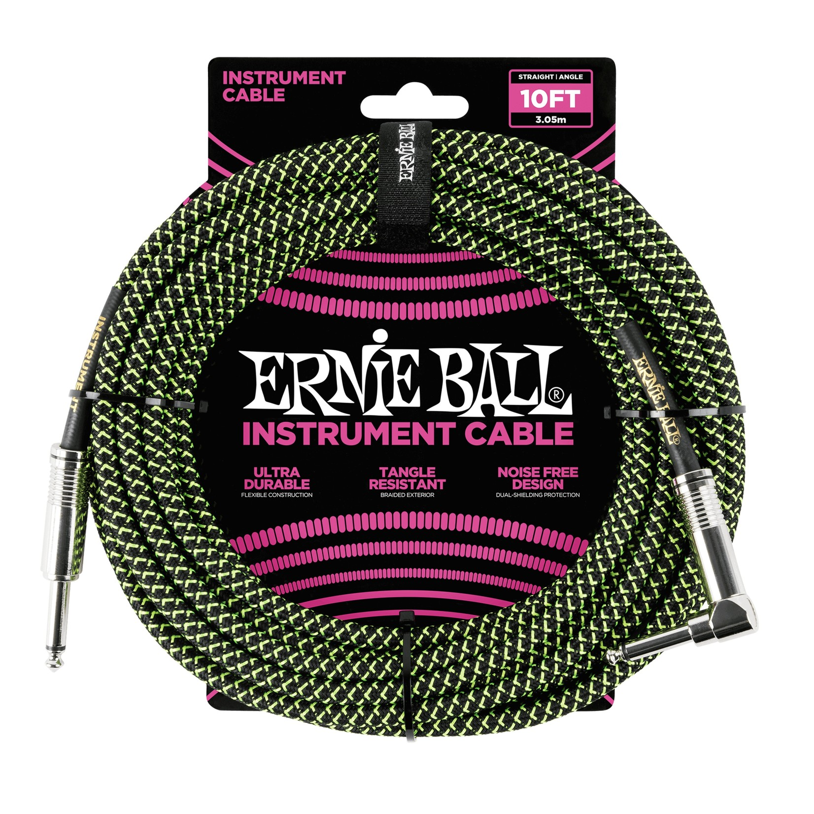 """Ernie Ball Ernie Ball 10' Braided 1/4"""" Straight / Angle Instrument Cable - Black/Green (10-foot)"""