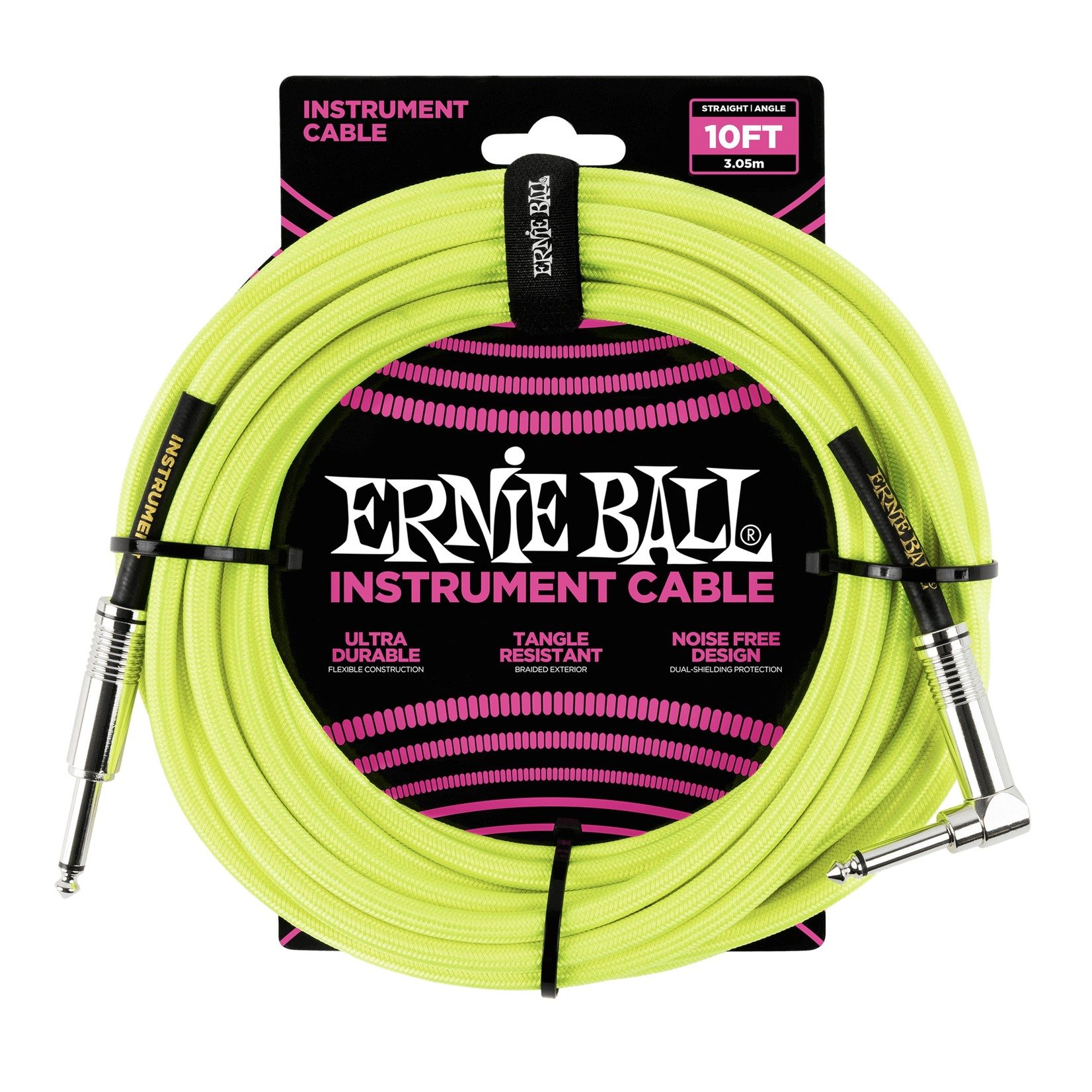 Ernie Ball Ernie Ball 10' Braided Straight / Angle Instrument Cable, Neon Yellow