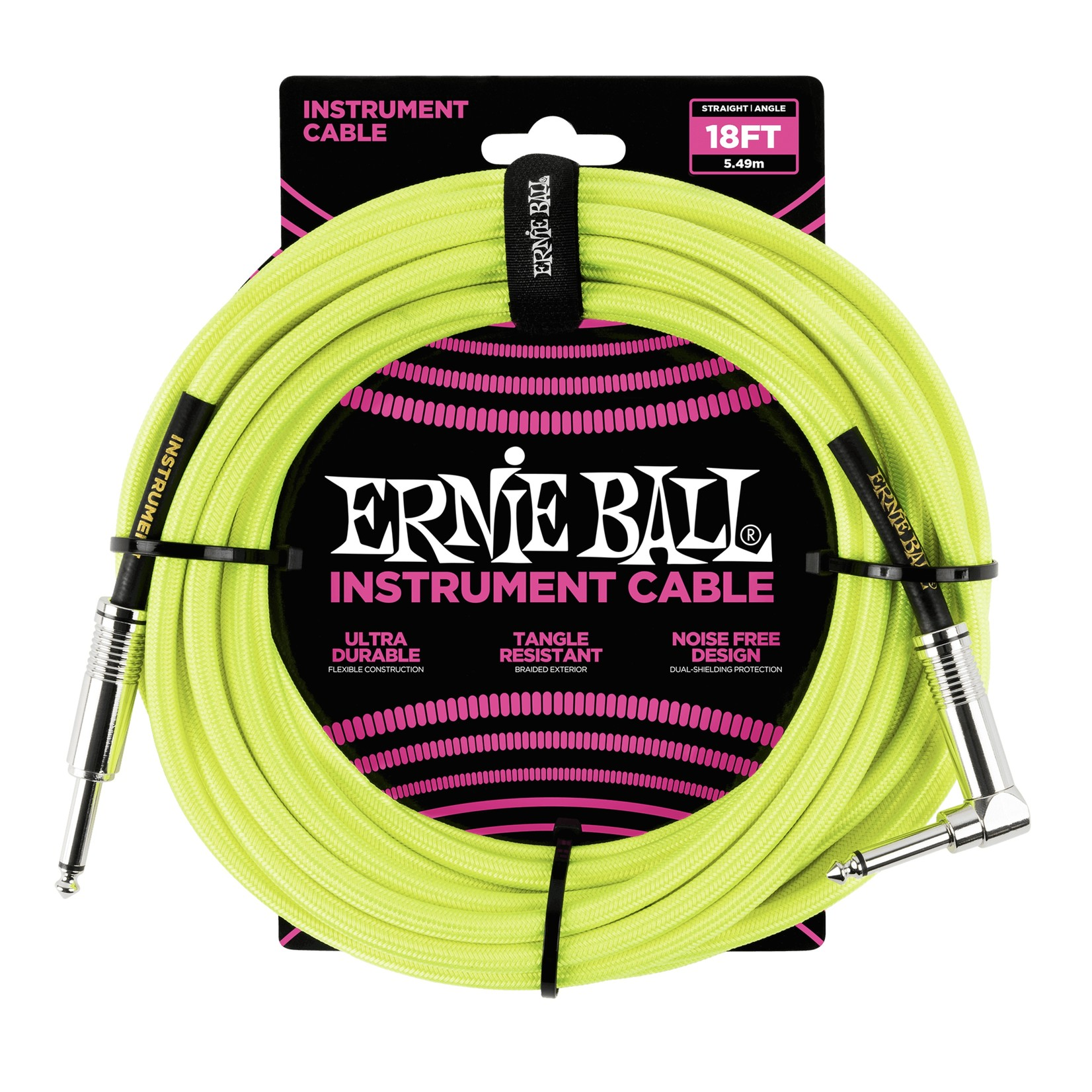 """Ernie Ball Ernie Ball 18' Braided 1/4"""" Straight / Angle Instrument Cable, Neon Yellow (18-foot)"""