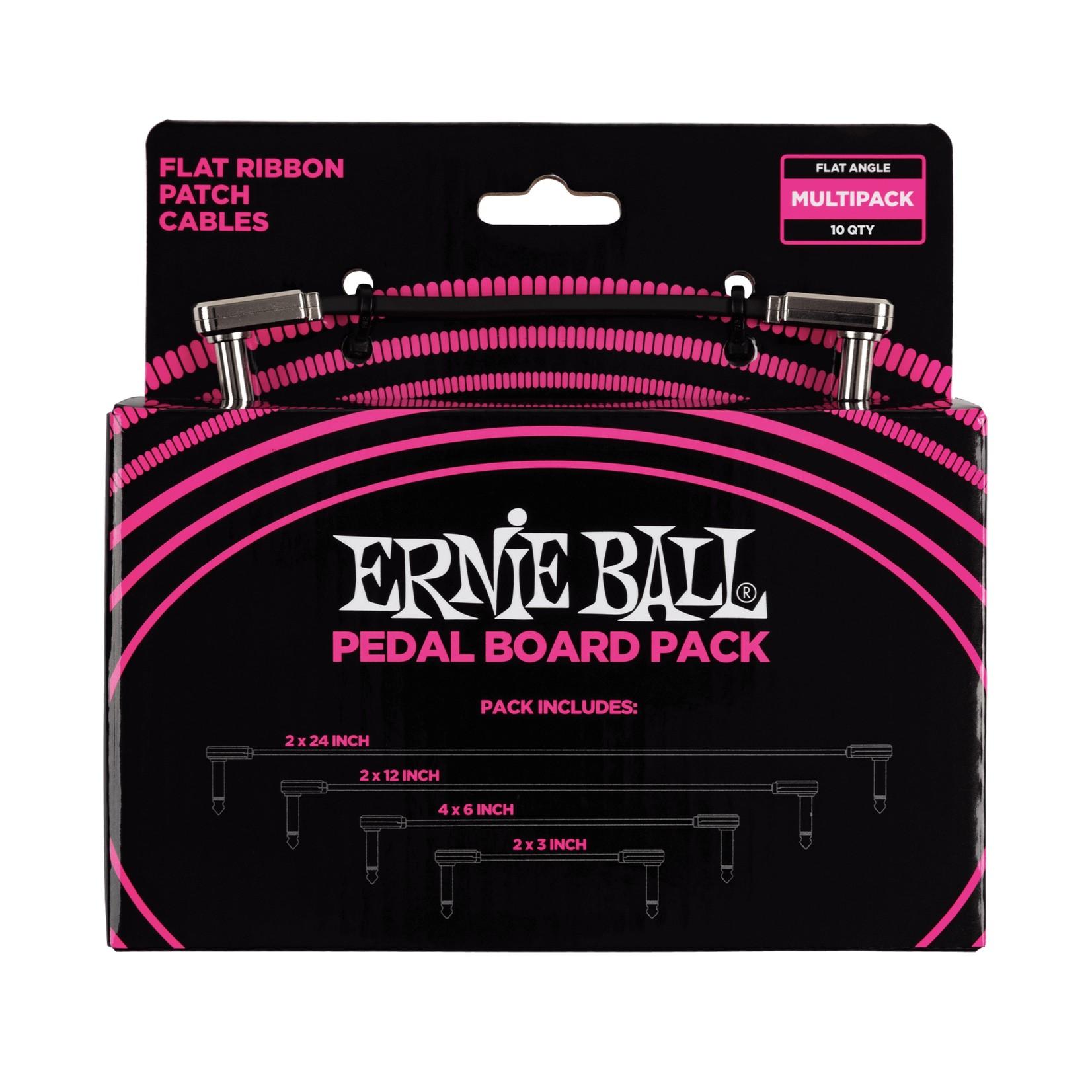 "Ernie Ball Ernie Ball Flat Ribbon Patch Cables Pedalboard Multi-Pack (2x 24"" 2x 12""   4x 6""   2x 3"")"