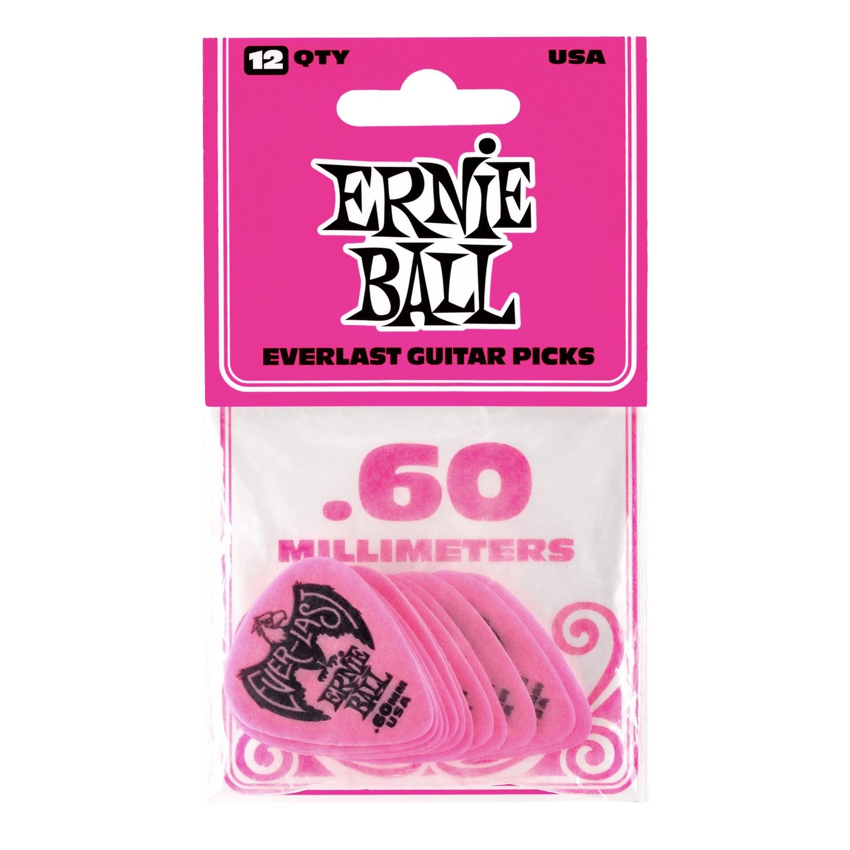 Ernie Ball Ernie Ball .60mm Everlast Picks, 12-Pack, Pink