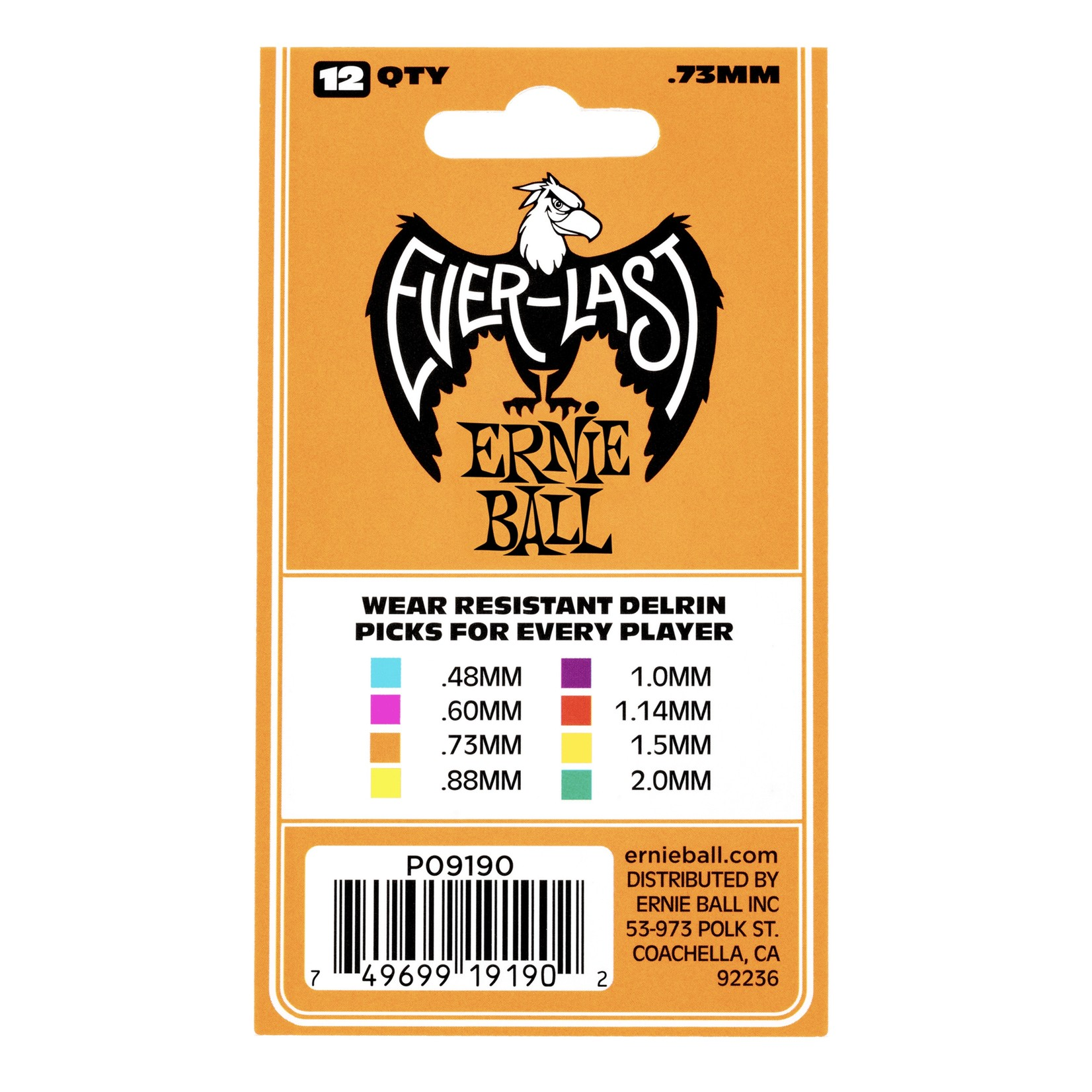 Ernie Ball Ernie Ball .73mm Orange Everlast Picks 12-pack