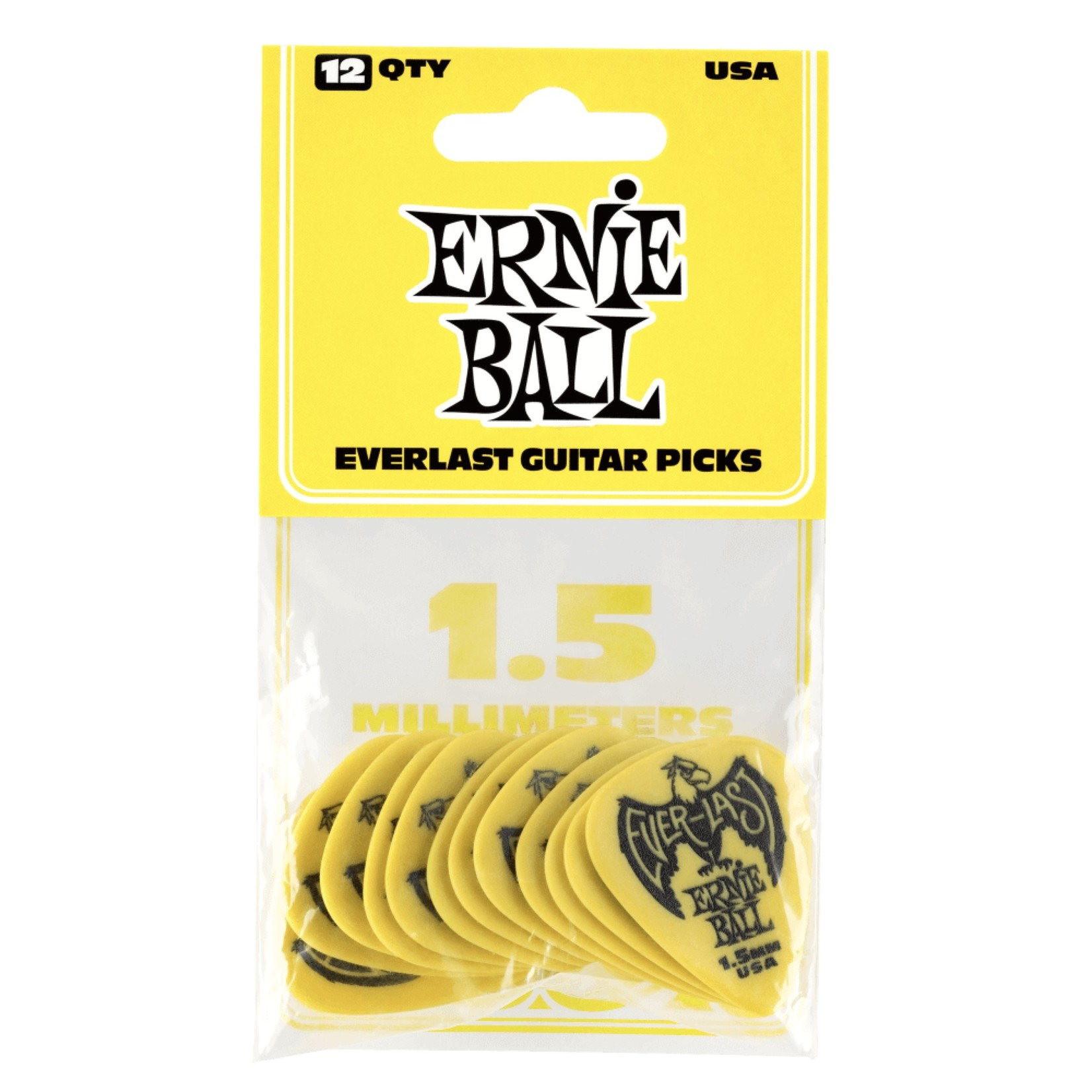 Ernie Ball Ernie Ball 1.5mm Yellow Everlast Picks 12-pack (P09195)