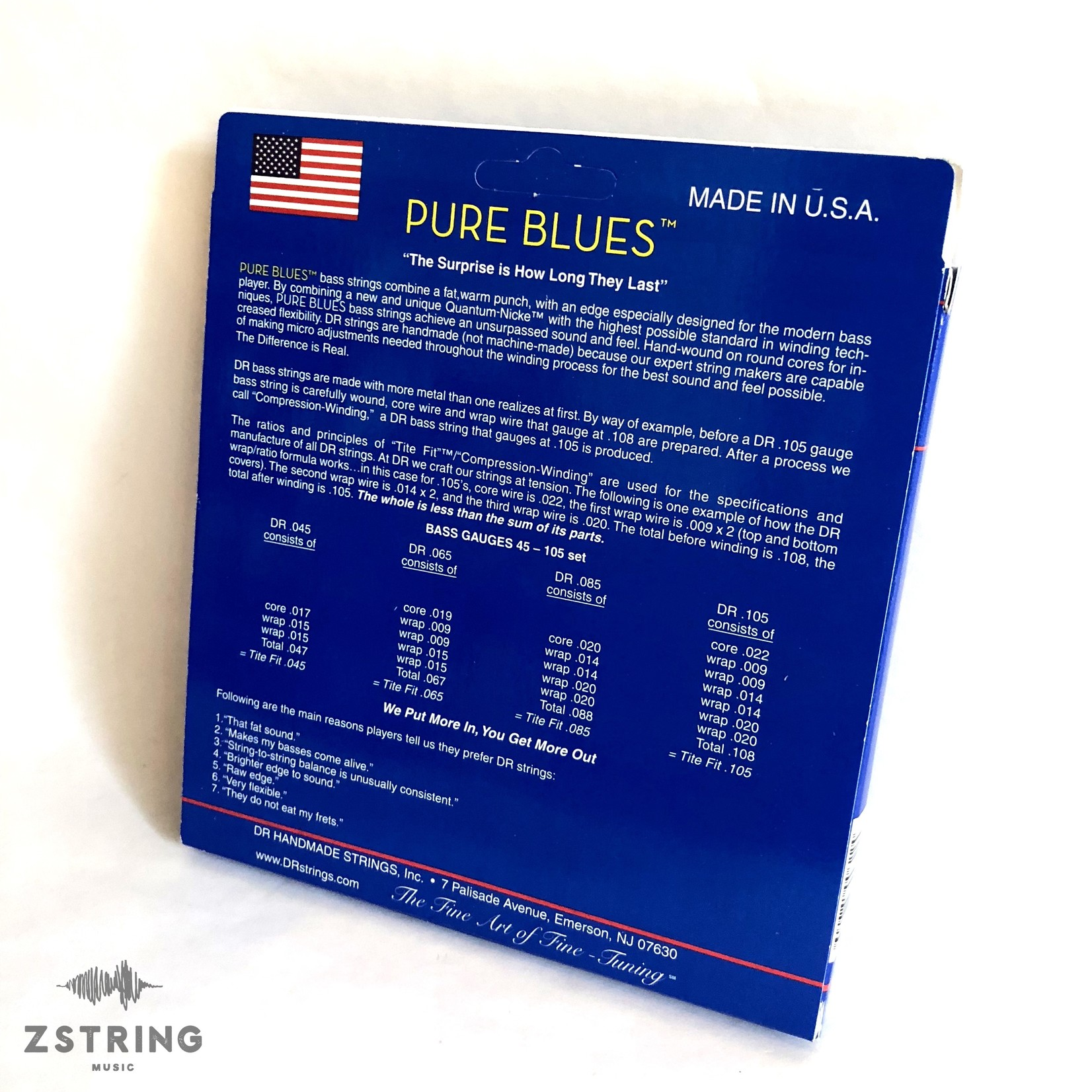 DR Strings DR Strings PB-40 Pure Blues Bass Strings (40 60 80 100), Quantum-Nickelª / Round Core
