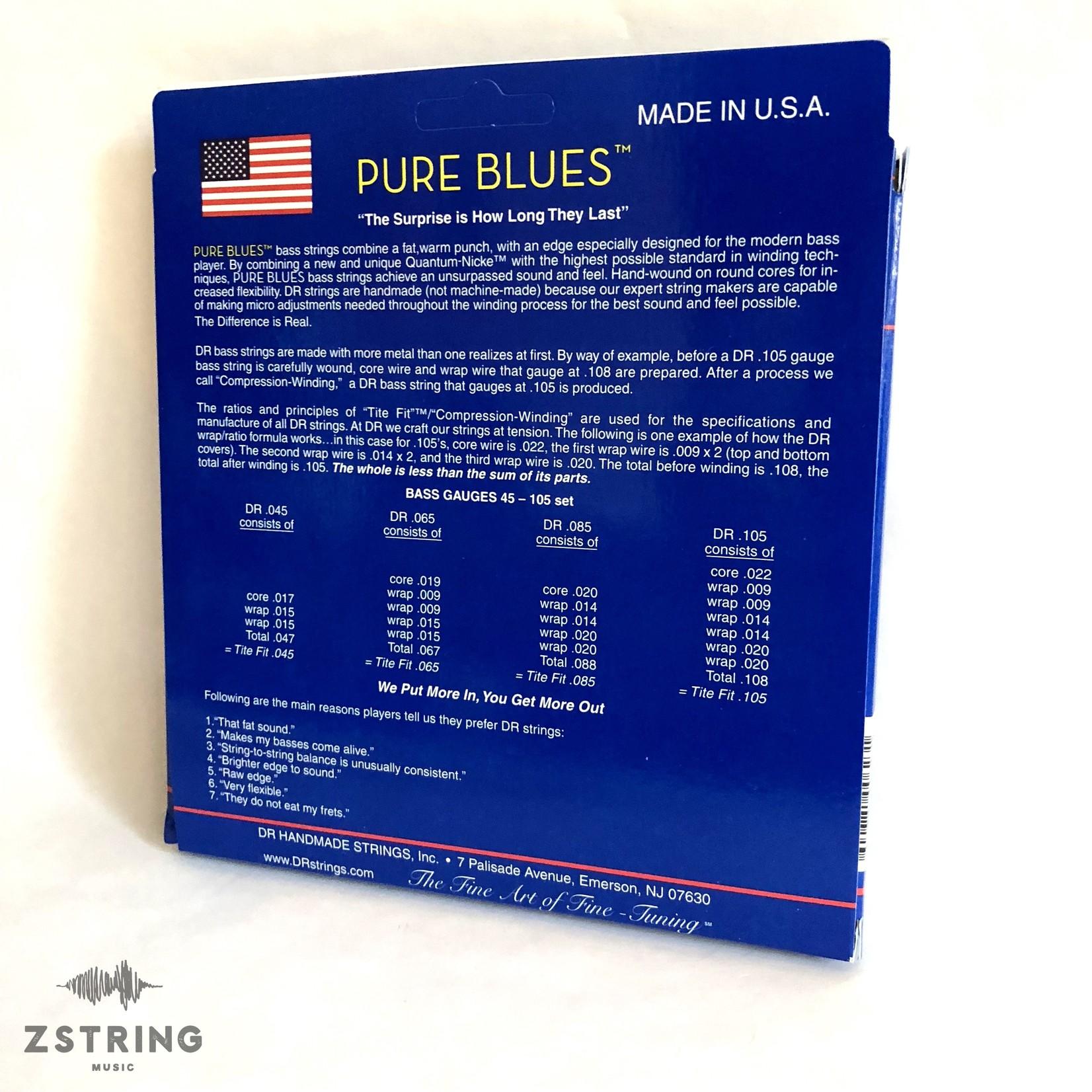DR Strings DR Strings PB-45/100 Pure Blues Bass Strings (45 65 80 100), Quantum-Nickelª / Round Core
