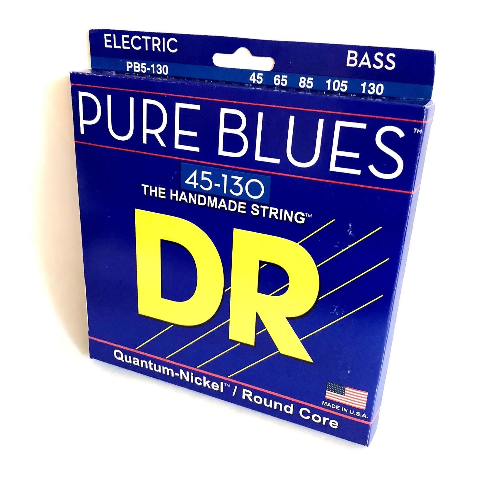 DR Strings DR Strings PB5-130 Pure Blues Bass 5-String Set (45 65 85 105 130), Quantum-Nickelª / Round Core