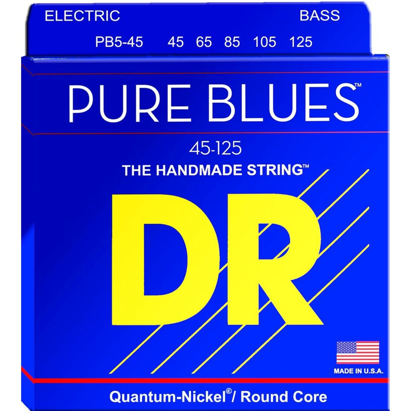 DR Strings DR PB5-45 Pure Blues Bass strings (45-125), 5-String, Quantum-Nickel / Round Core