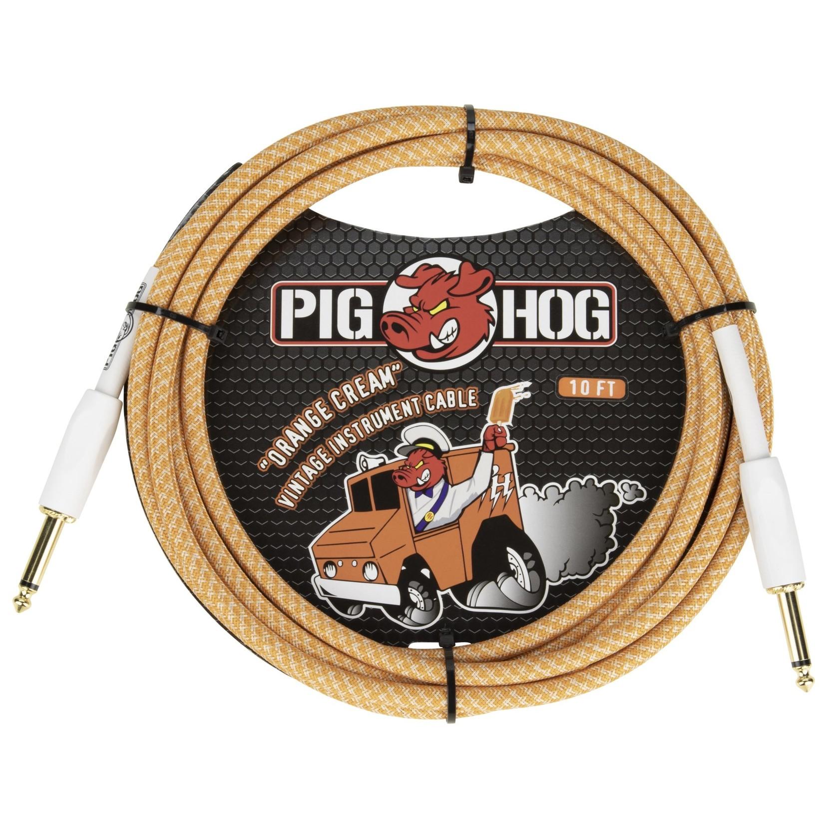 "Pig Hog Pig Hog Tour Grade Vintage Woven 10-Foot Instrument Cable, Straight 1/4"" TS, Orange Cream 2.0 (2020)"