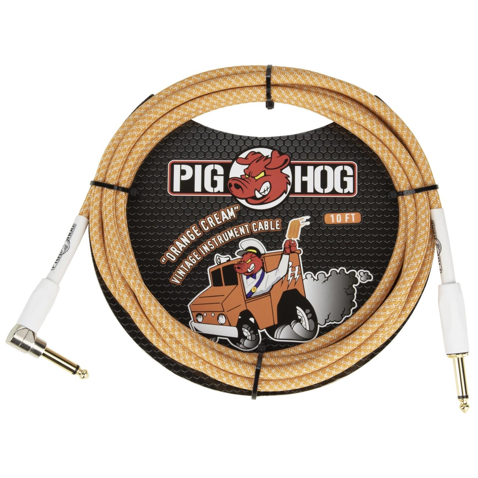 "Pig Hog Pig Hog Tour Grade Vintage Woven 10-Foot Instrument Cable, Straight-Angle 1/4"" TS, Orange Cream 2.0"