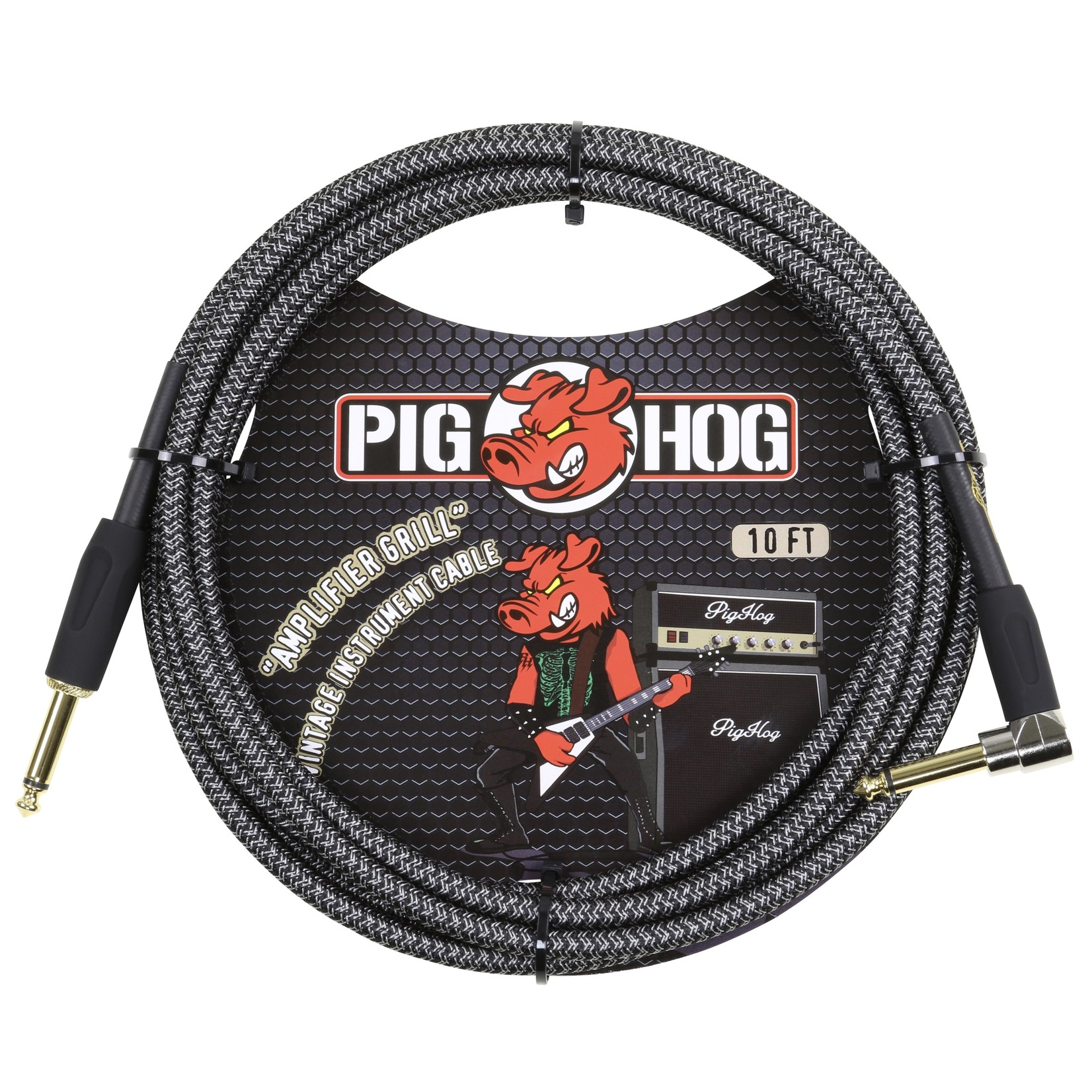 "Pig Hog Pig Hog ""Amplifier Grill"" (Black/Silver) Vintage Woven 10-ft Instrument Cable, 1/4""-1/4"" Rt Angle"