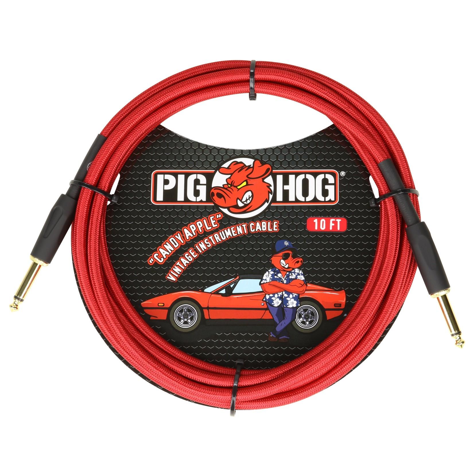 "Pig Hog Pig Hog ""Candy Apple Red"" Vintage Instrument Cable, 10ft Straight (PCH10CA)"