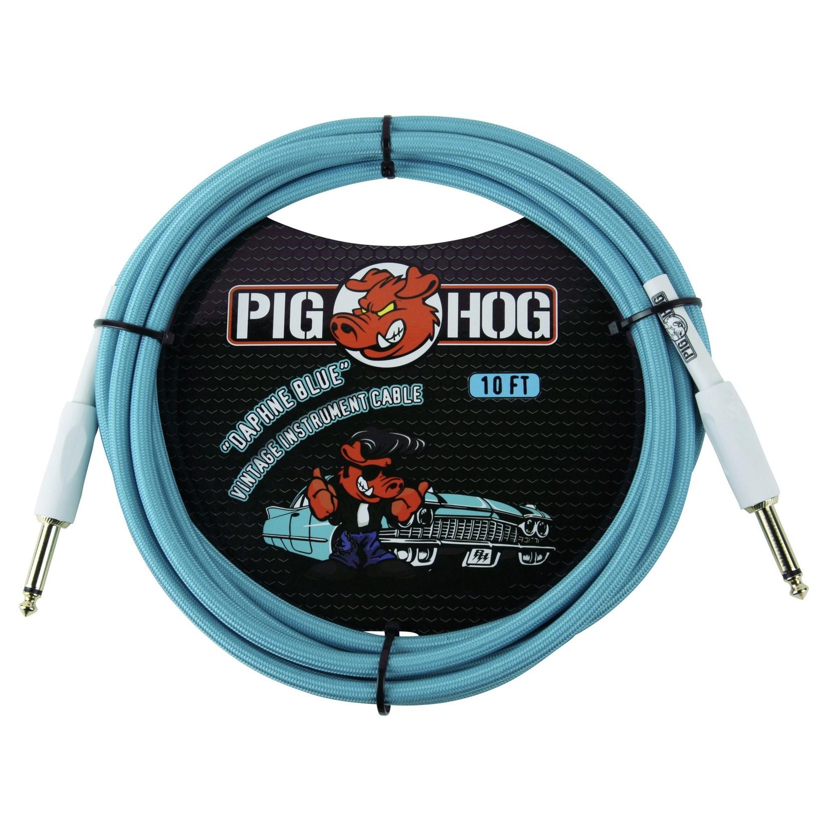 "Pig Hog Pig Hog ""Daphne Blue"" Vintage Instrument Cable - 10 FT - 1/4"" Straight-Straight (PCH10DB)"