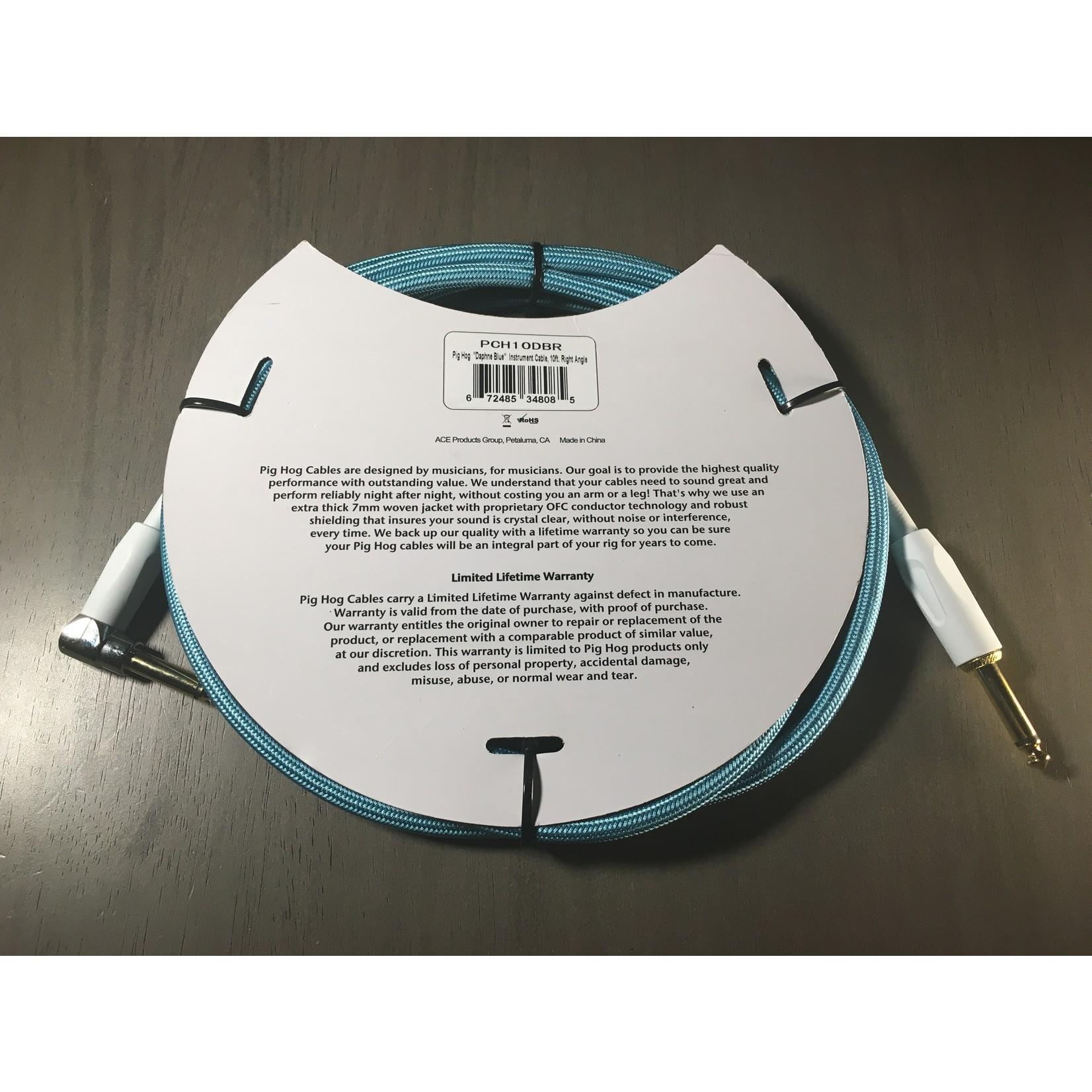 """Pig Hog Pig Hog Vintage Instrument Cable - 10 FT Right Angle """"Daphne Blue"""" (PCH10DBR)"""