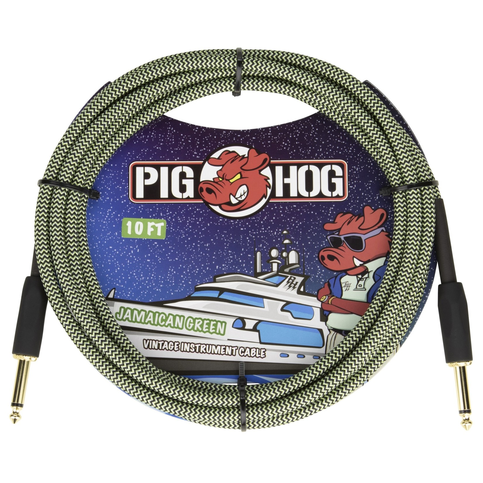"""Pig Hog Pig Hog 10-Foot Vintage Woven Instrument Cable, 1/4"""" Straight-Straight, Jamaican Green - New 2020!"""