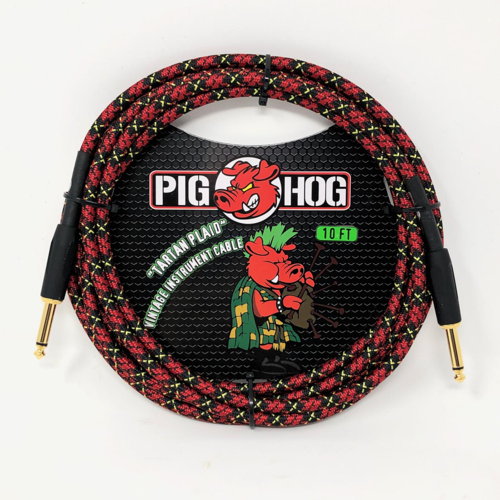 "Pig Hog Pig Hog ""Tartan Plaid"" Vintage Woven Instrument Cable - 10 FT Straight 1/4"" Plugs (PCH10PL)"