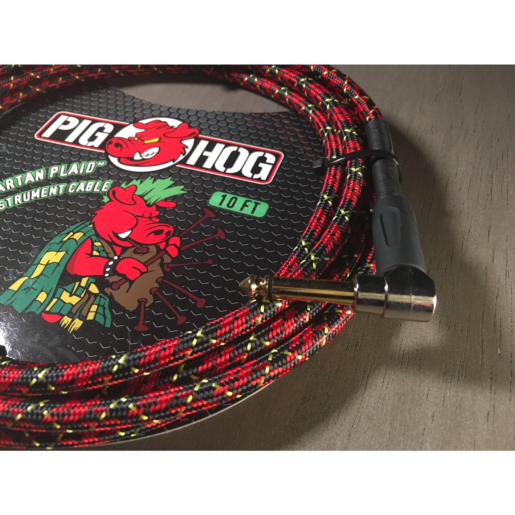 "Pig Hog Pig Hog ""Tartan Plaid"" Vintage Woven Instrument Cable - 10 FT Right Angle (PCH10PLR)"