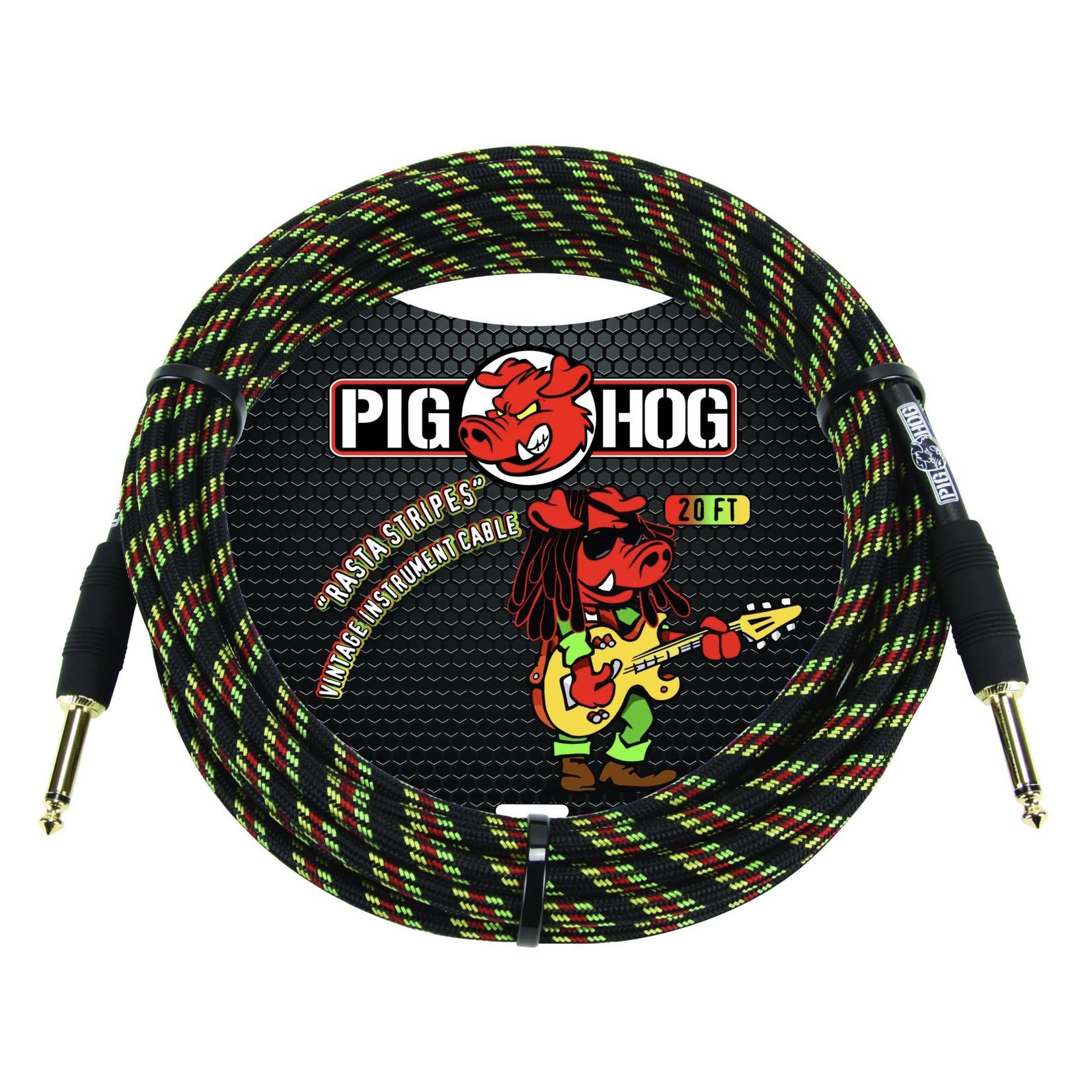 "Pig Hog Pig Hog ""Rasta Stripes"" Vintage Woven Instrument Cable - 10 FT Straight 1/4"" Plugs (PCH10RA), Reggae"