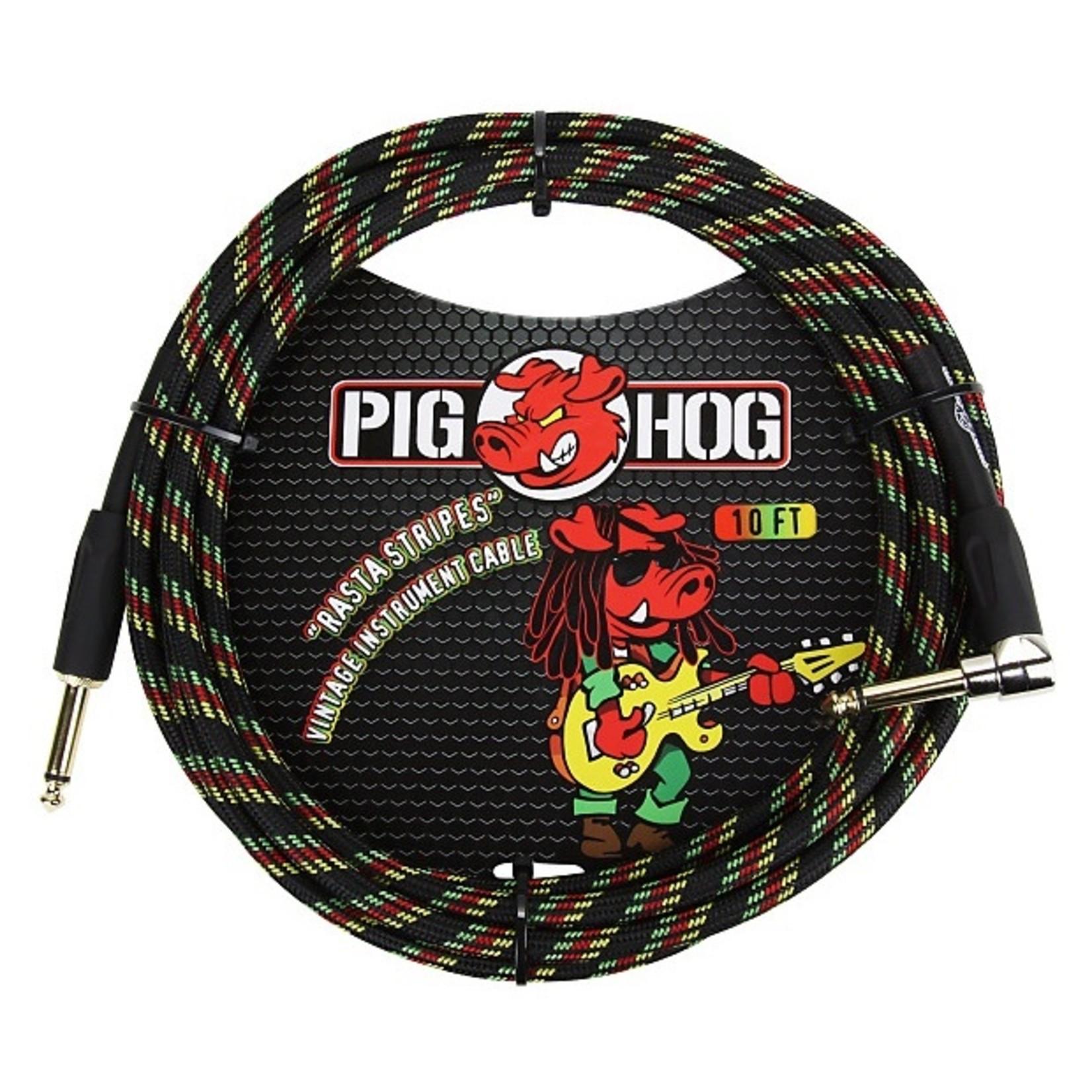 """Pig Hog Pig Hog """"Rasta Stripes"""" Woven Vintage Instrument Cable - 10 FT Right Angle (PCH10RAR), Reggae"""