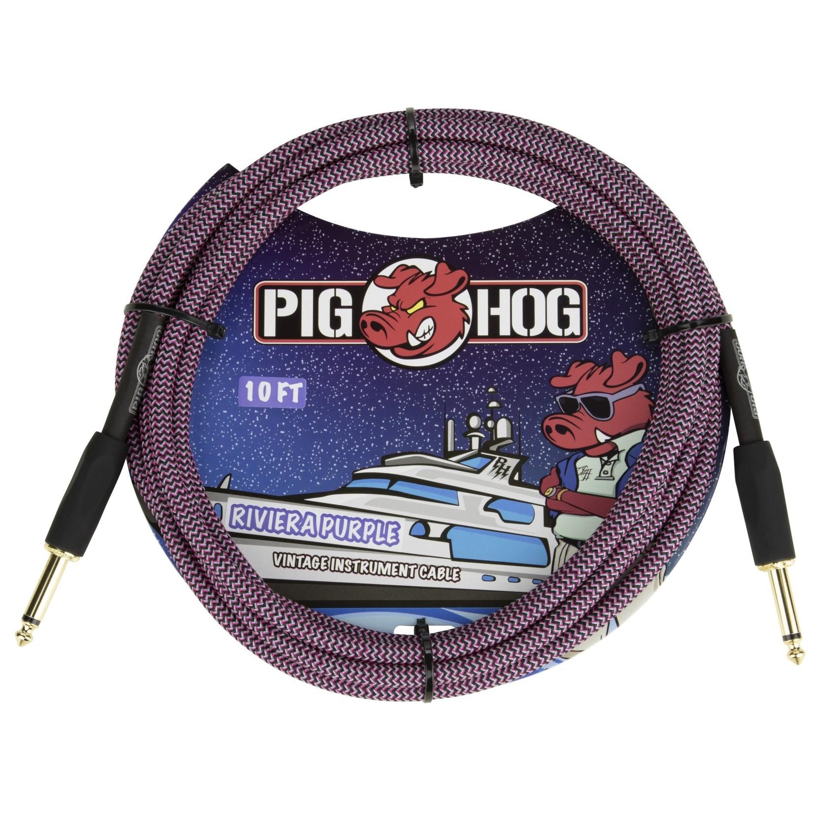 "Pig Hog Pig Hog 10-Foot Vintage Woven Instrument Cable, 1/4"" Straight-Straight Riviera Purple - New 2020!"