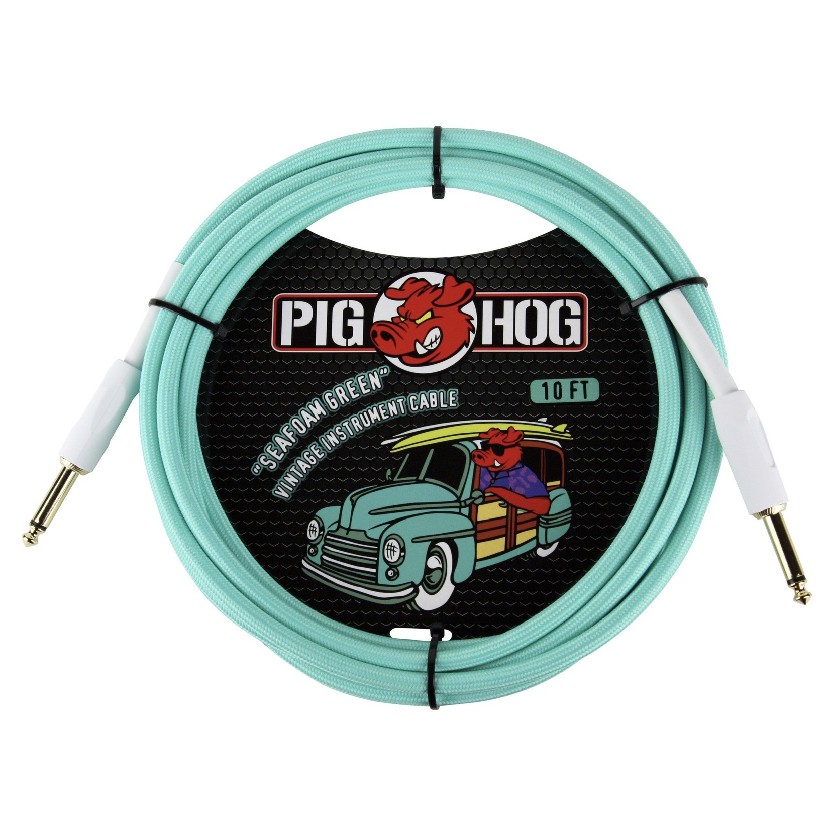 "Pig Hog Pig Hog ""Seafoam Green"" Vintage Woven Instrument Cable - 10 FT Straight 1/4"" Plugs (PCH10SG)"