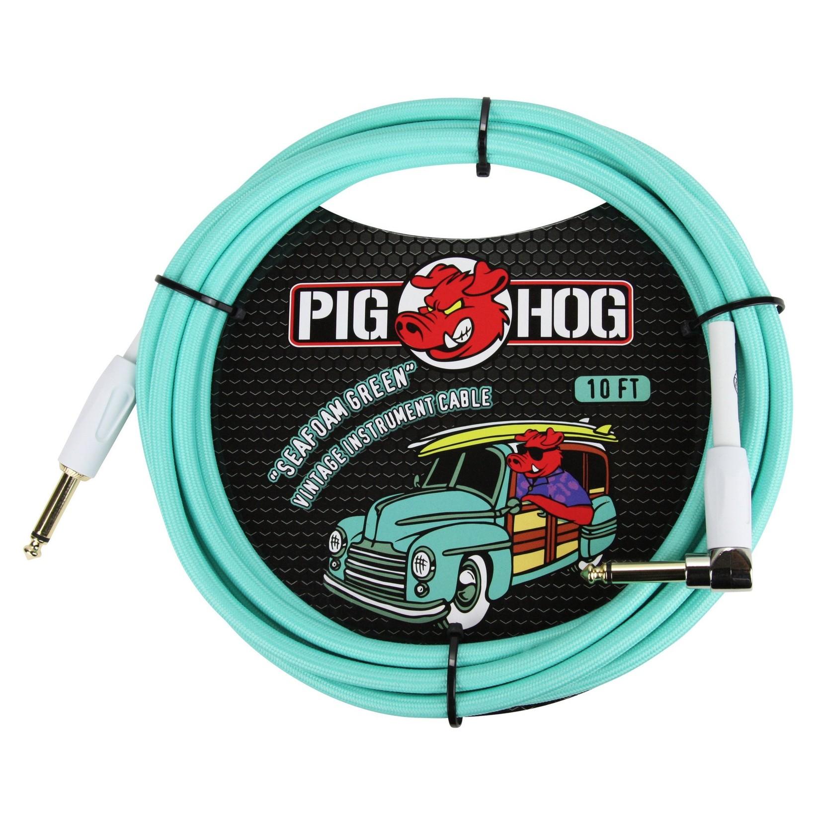 """Pig Hog Pig Hog """"Seafoam Green"""" Vintage Instrument Cable - 10 FT Right Angle (PCH10SGR)"""