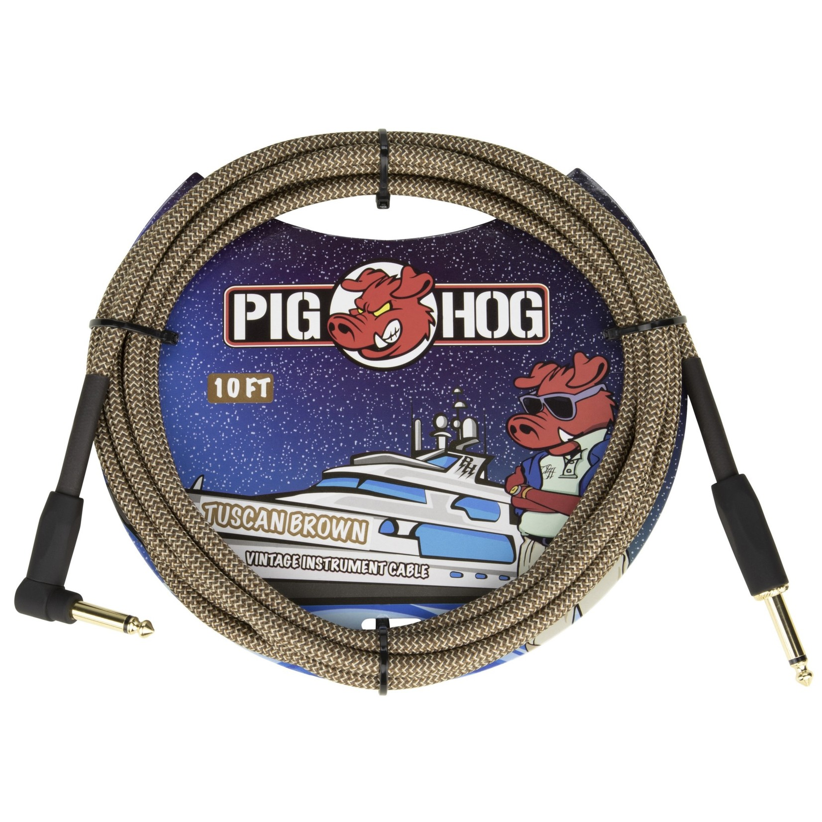 """Pig Hog Pig Hog 10-Foot Vintage Woven Instrument Cable, 1/4"""" Straight-Right Angle, Tuscan Brown - New 2020!"""