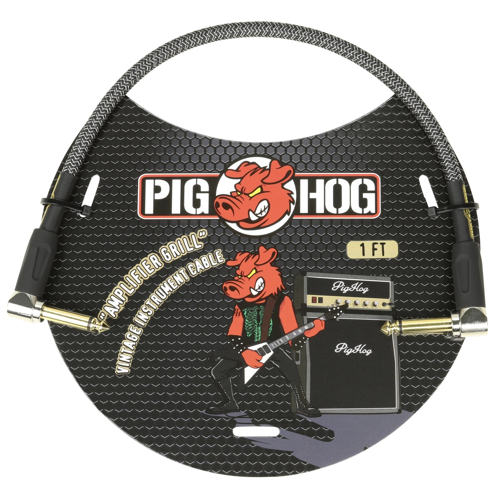 Pig Hog Pig Hog Vintage Woven Patch Cable, 1-Foot, 7mm, Right-Angle Connectors, Amplifier Grill (PCH1AGR)