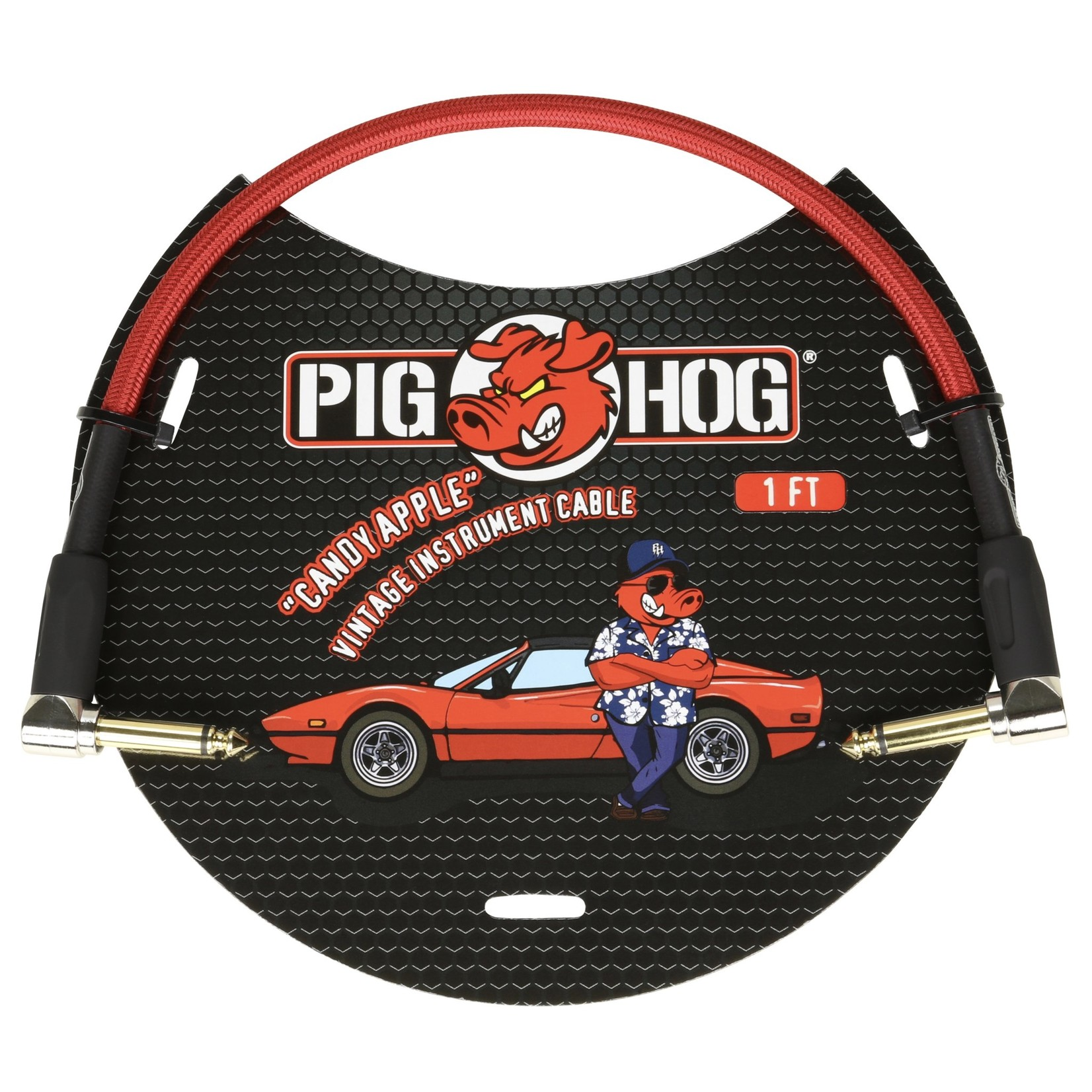 Pig Hog Pig Hog Vintage Woven Patch Cable, 1-Foot, 7mm, Right-Angle Connectors, Candy Apple Red (PCH1CAR)