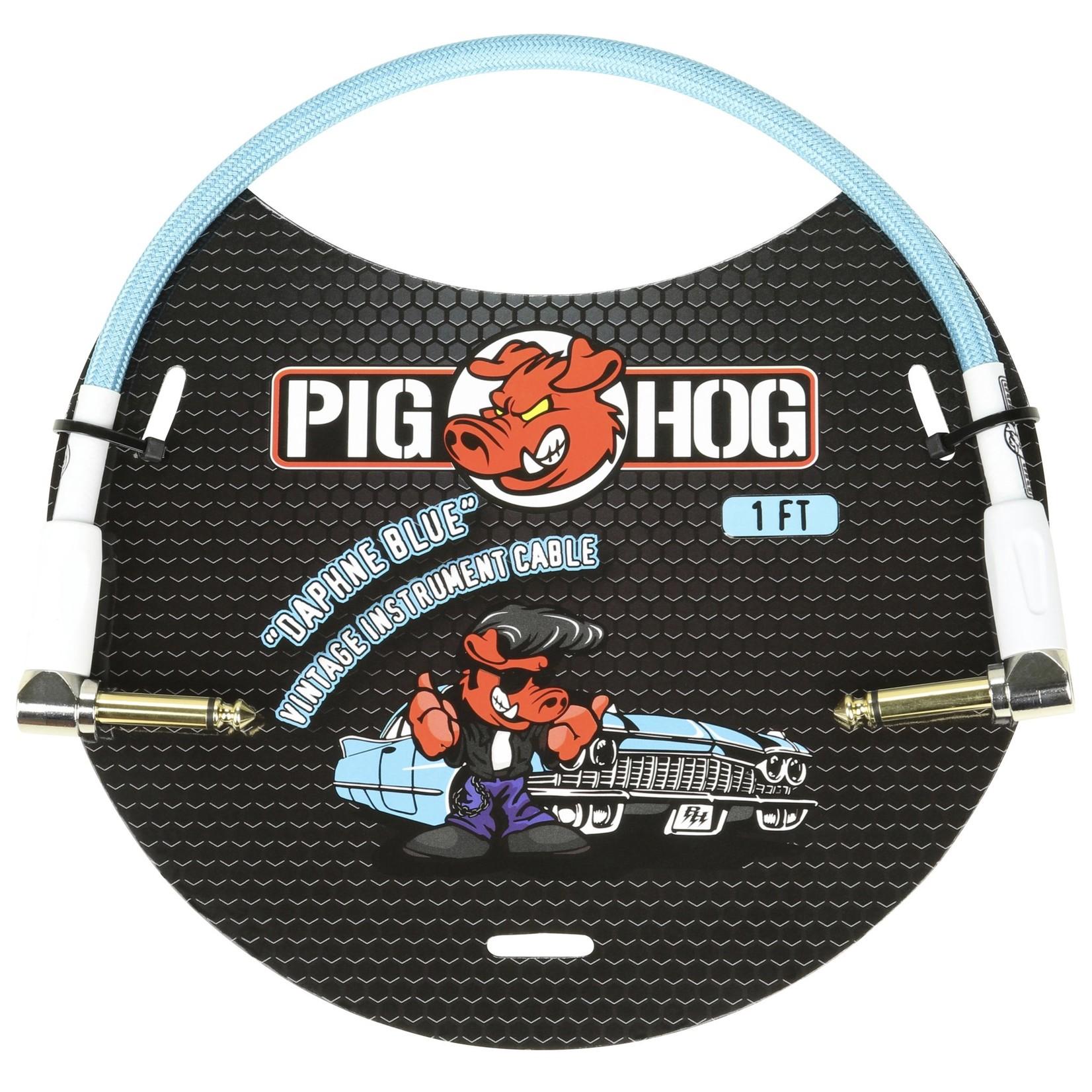 Pig Hog Pig Hog Vintage Woven Patch Cable, 1-Foot, 7mm, Right-Angle Connectors, Daphne Blue (PCH1DBR)