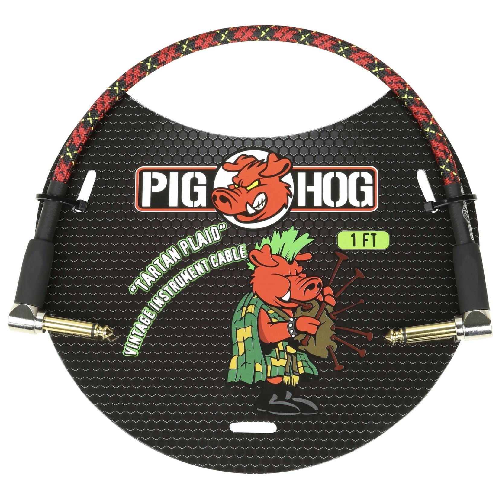 "Pig Hog Pig Hog Vintage Woven Patch Cable, 1-Foot, 7mm, Right-Angle Connectors, ""Tartan Plaid"" (PCH1PLR)"